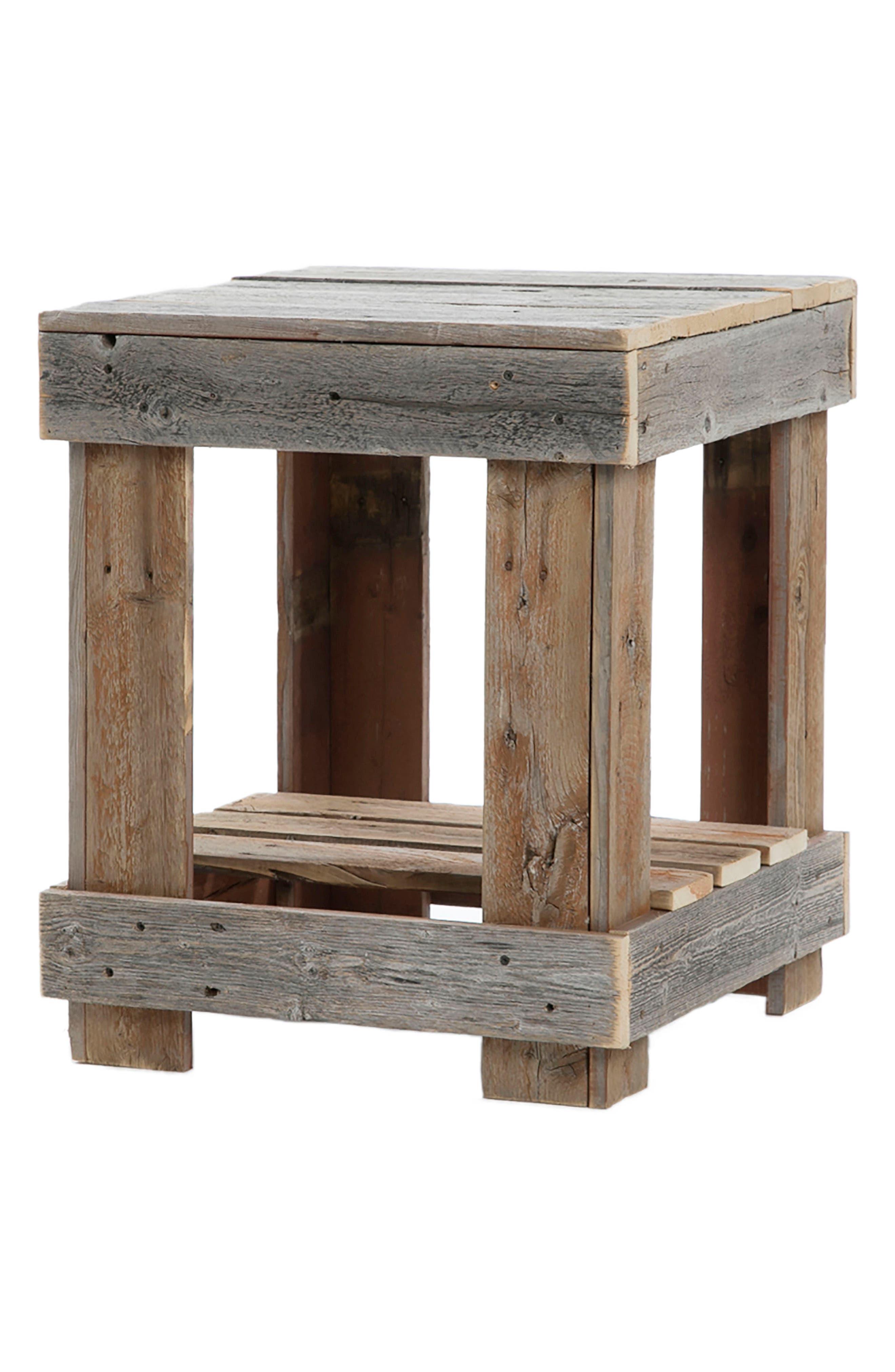 Repurposed Barnwood End Table,                         Main,                         color, 200