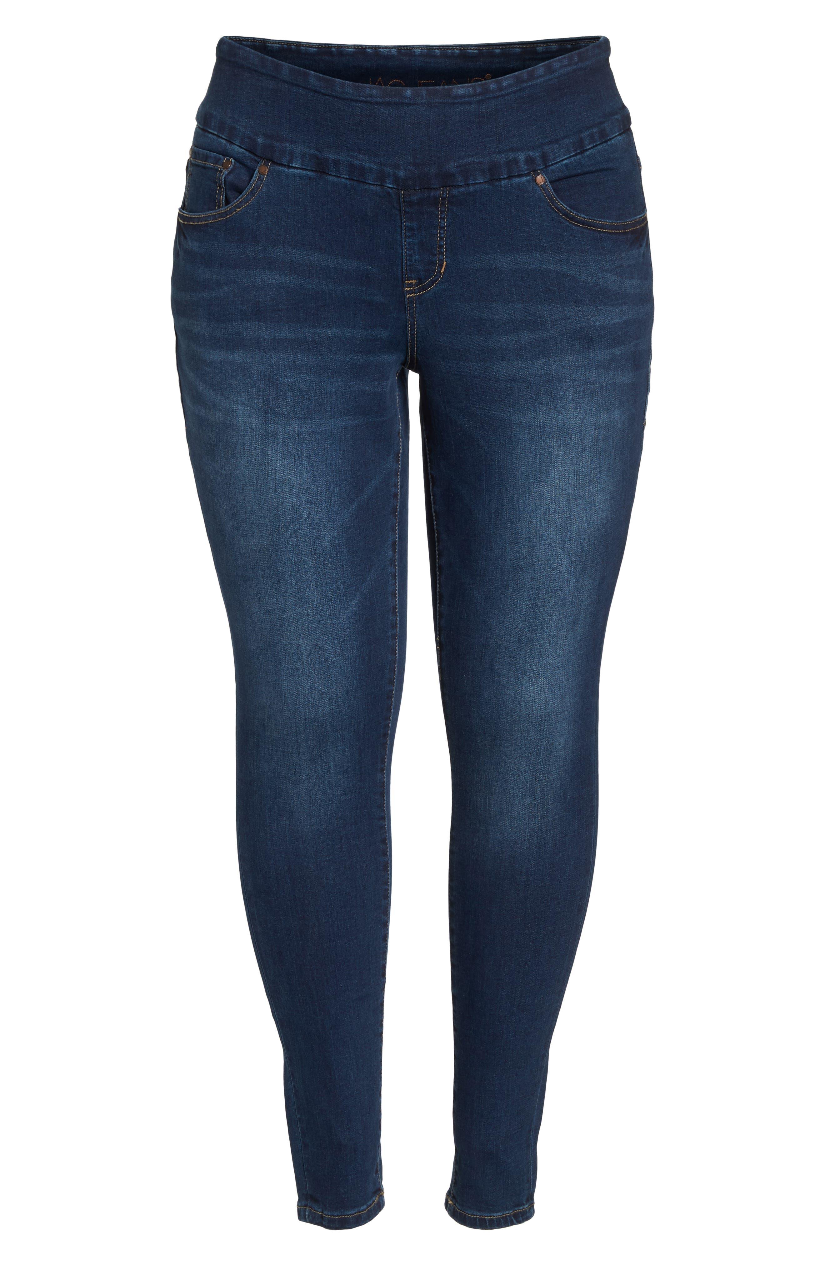 Nora Stretch Skinny Jeans,                             Alternate thumbnail 7, color,                             MED INDIGO