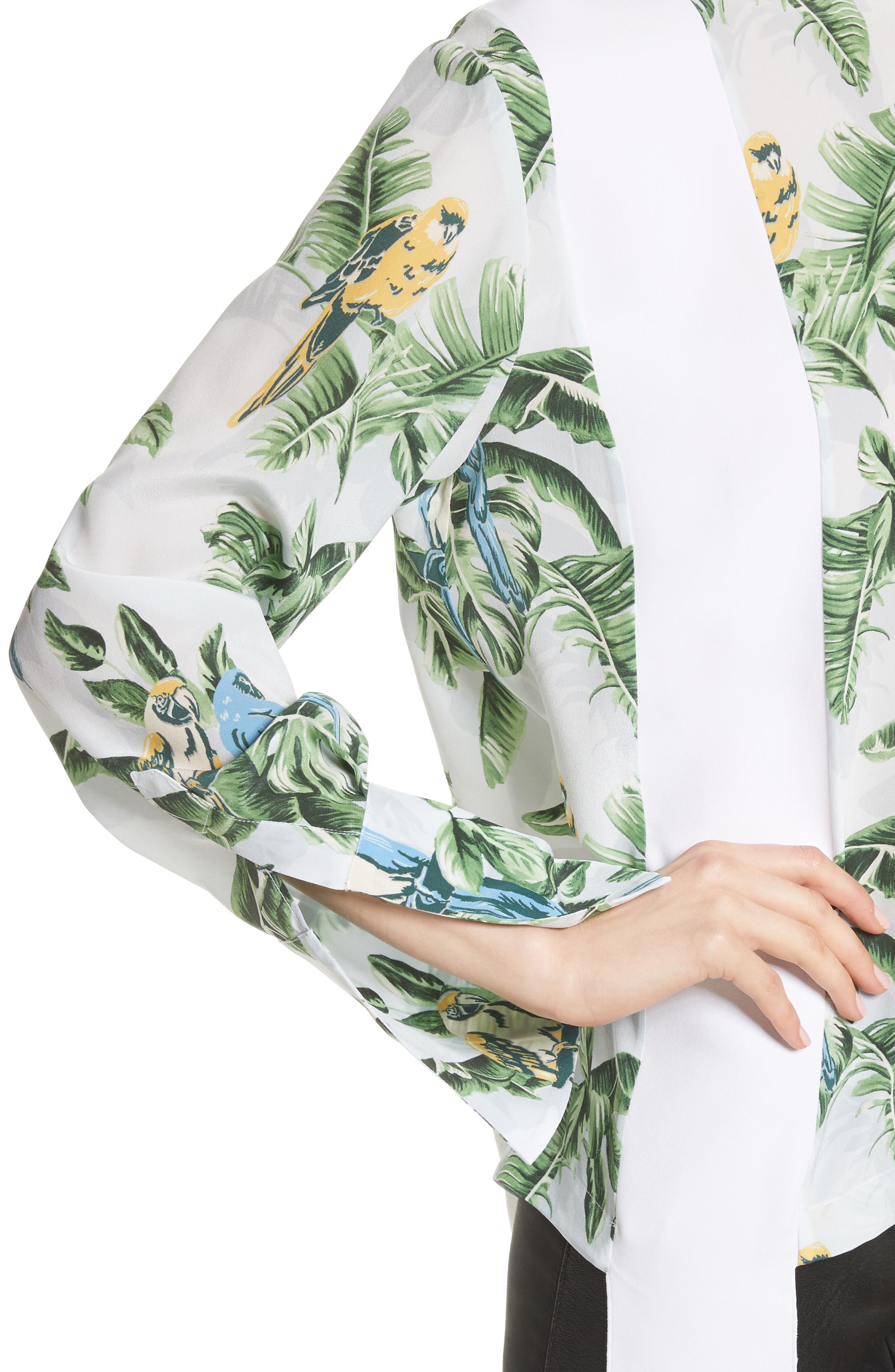 Claire Bird of Paradise Crêpe de Chine Blouse,                             Alternate thumbnail 4, color,