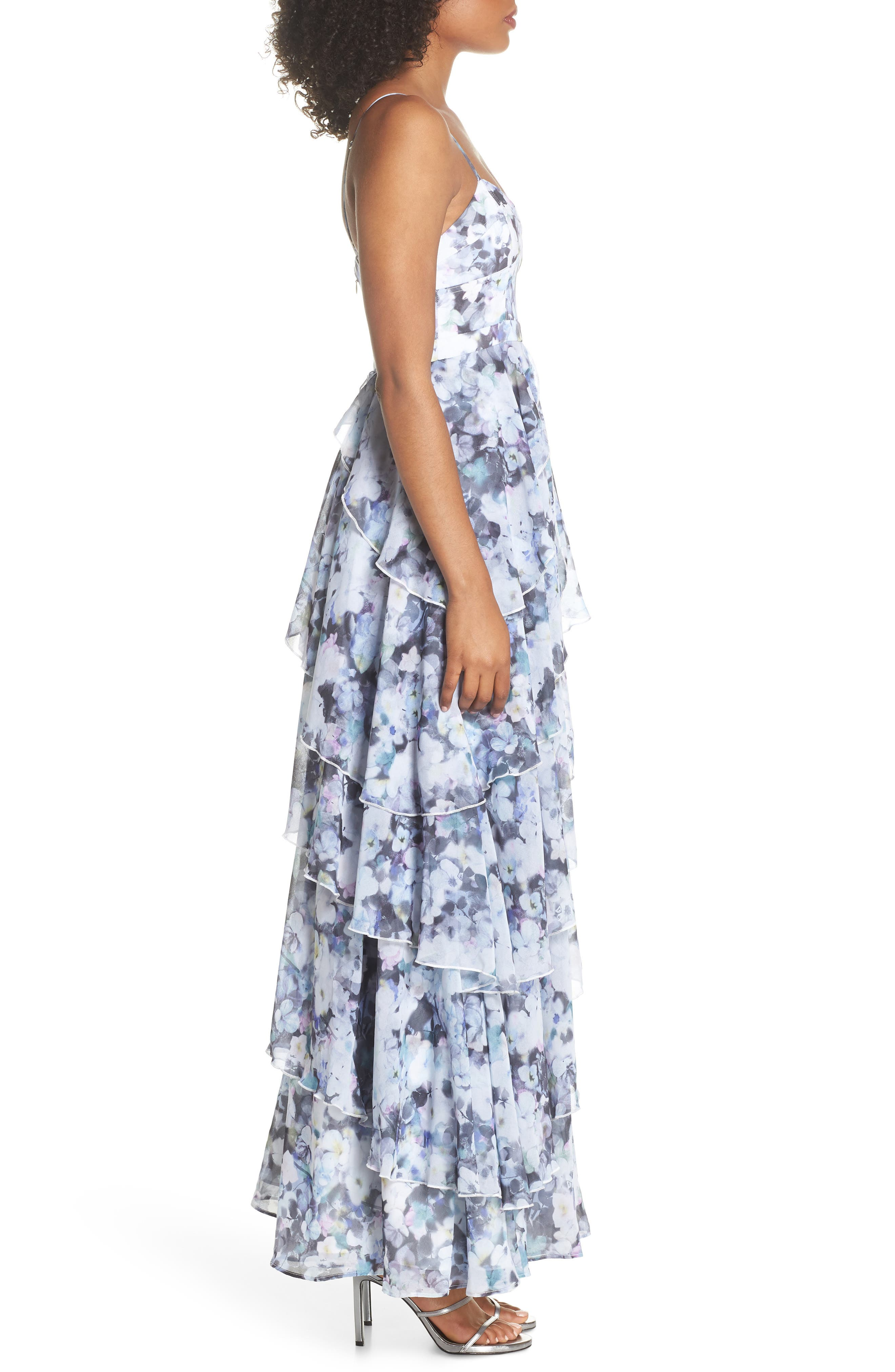 Catherine Floral Print Gown,                             Alternate thumbnail 3, color,                             450