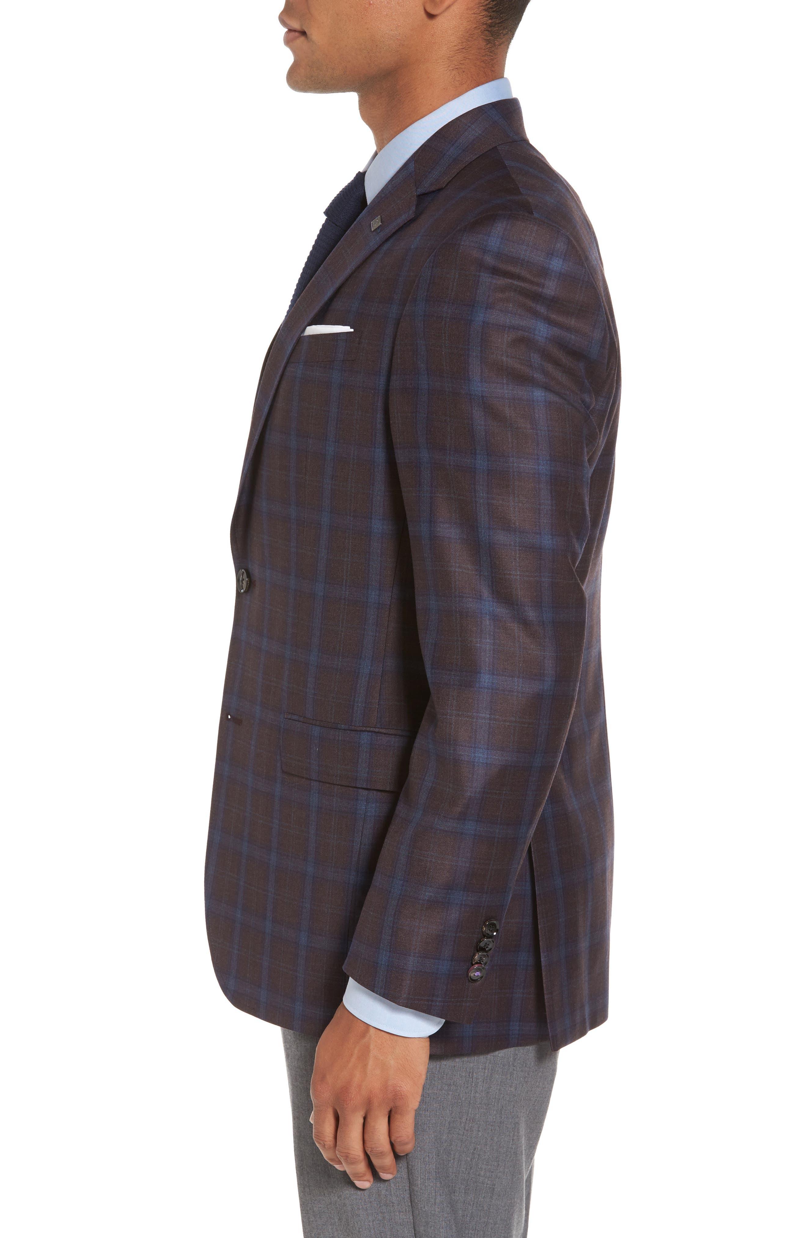 Jay Trim Fit Plaid Wool Sport Coat,                             Alternate thumbnail 3, color,                             932