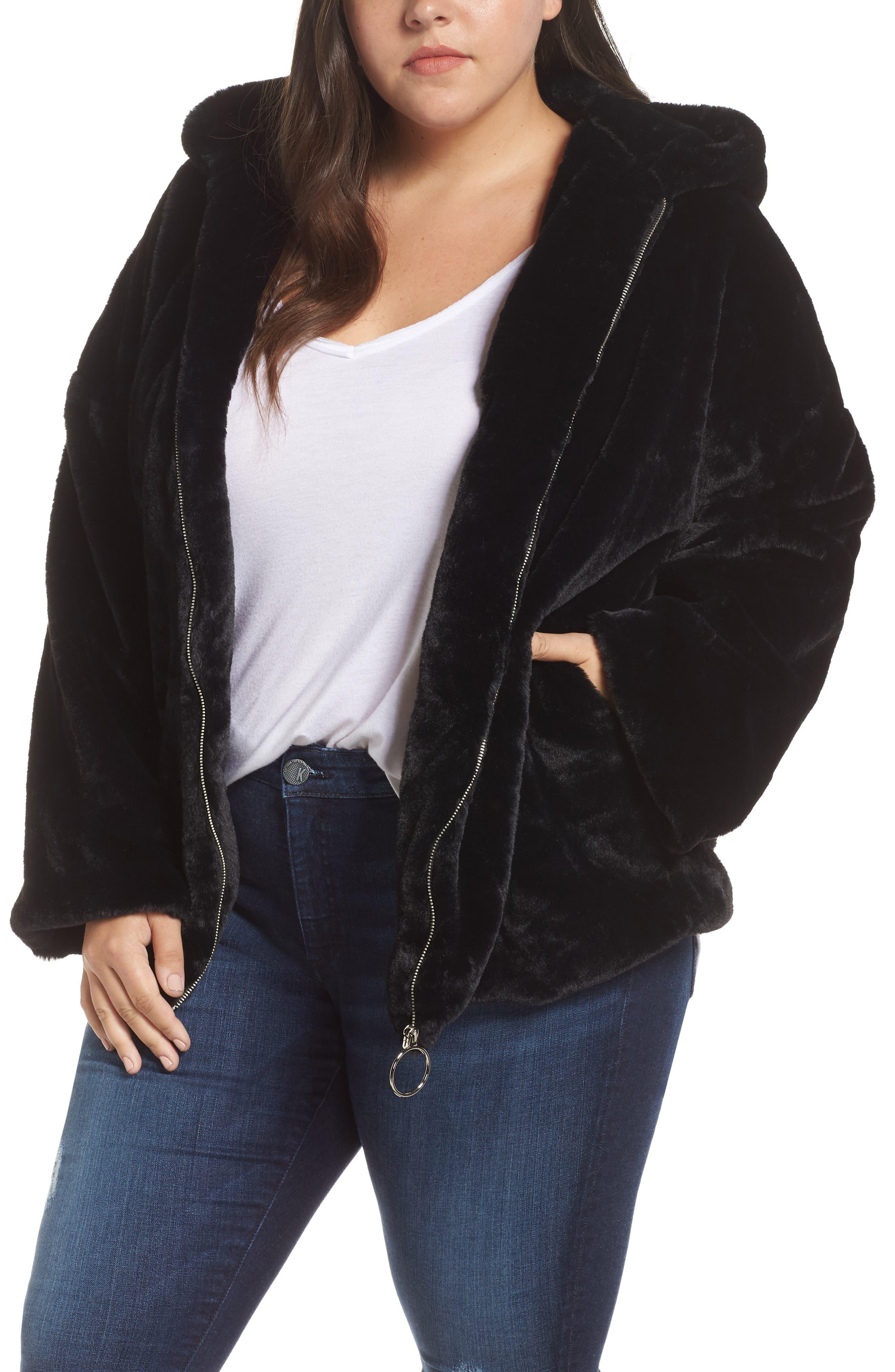 GLAMOROUS Faux Fur Zip Front Hooded Jacket in Black