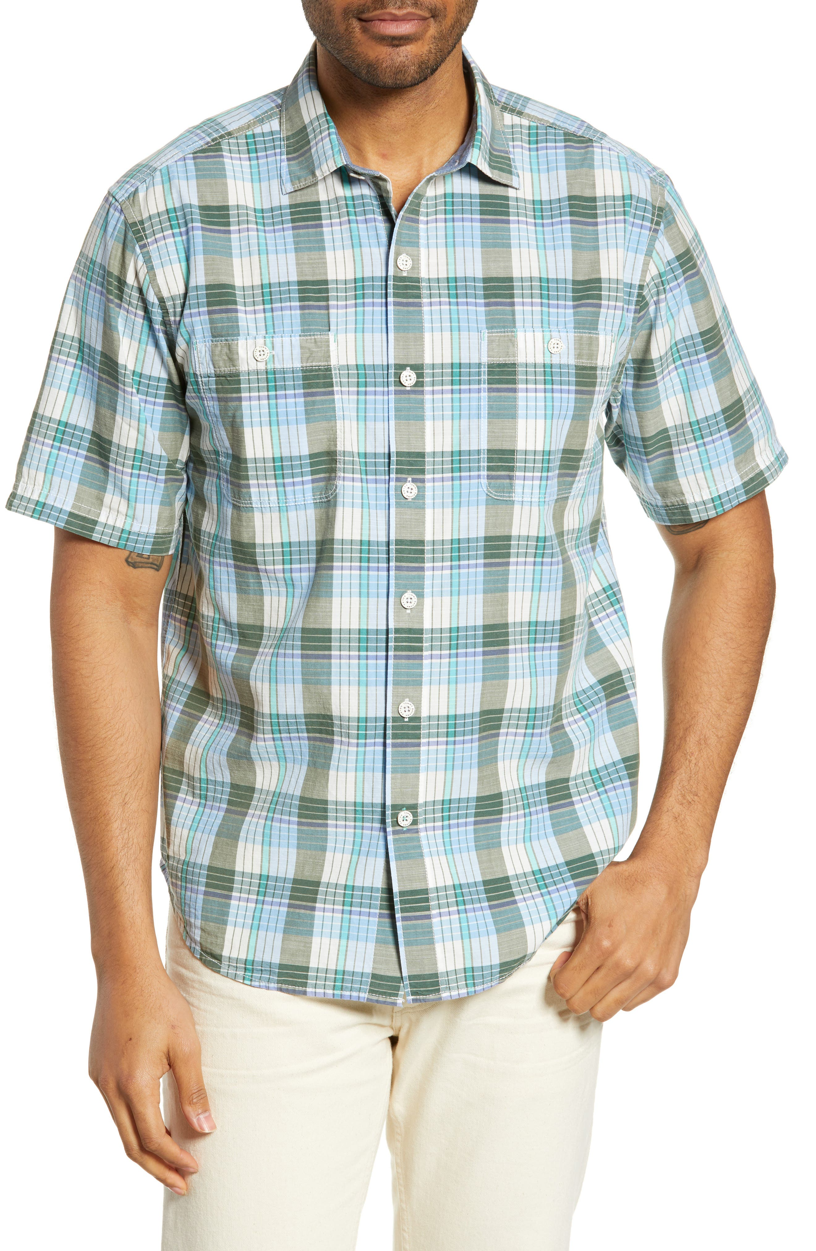 Tommy Bahama Mai Tai Classic Fit Plaid Sport Shirt, Green