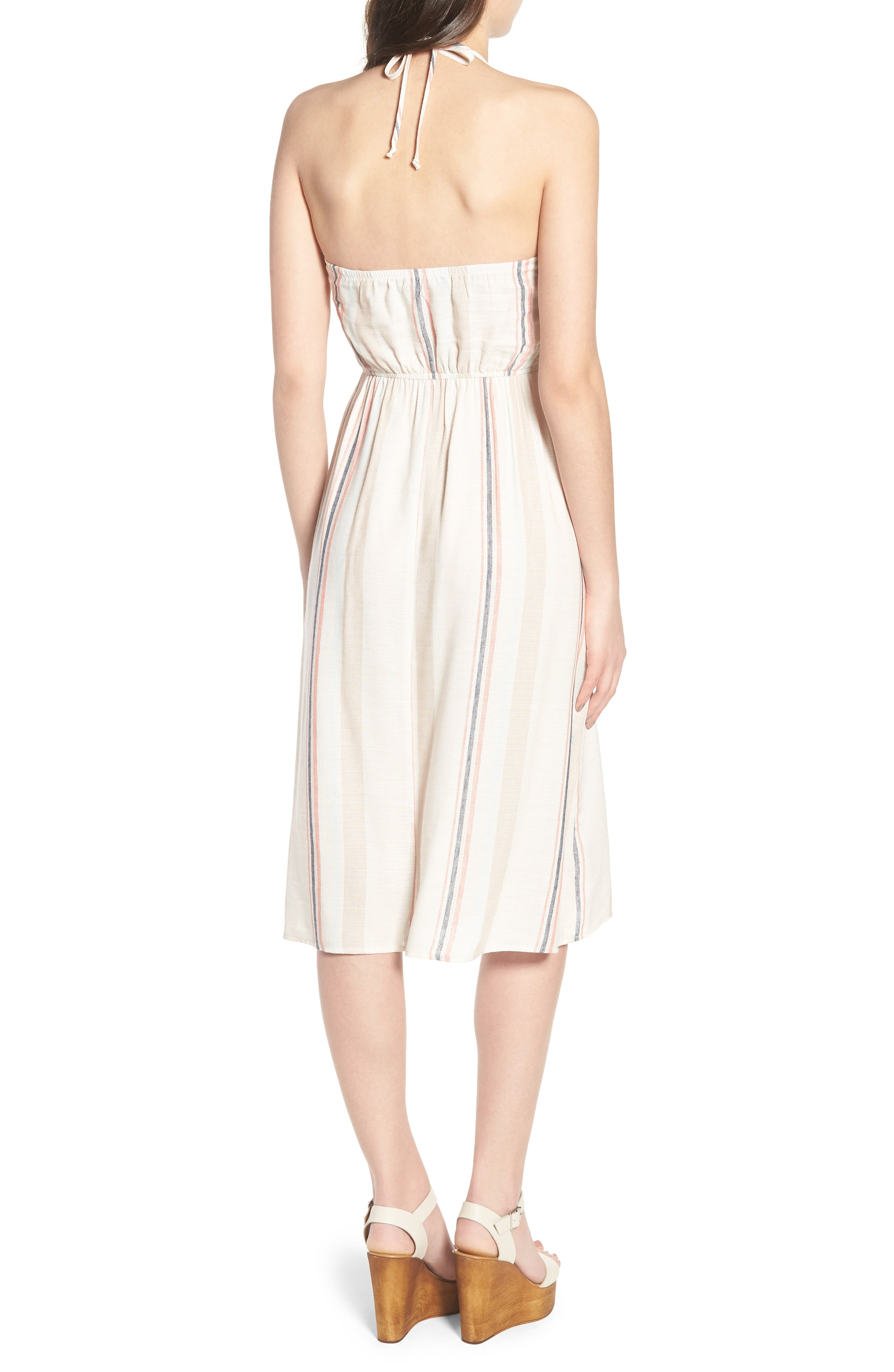 Tie Front Midi Dress,                             Alternate thumbnail 2, color,