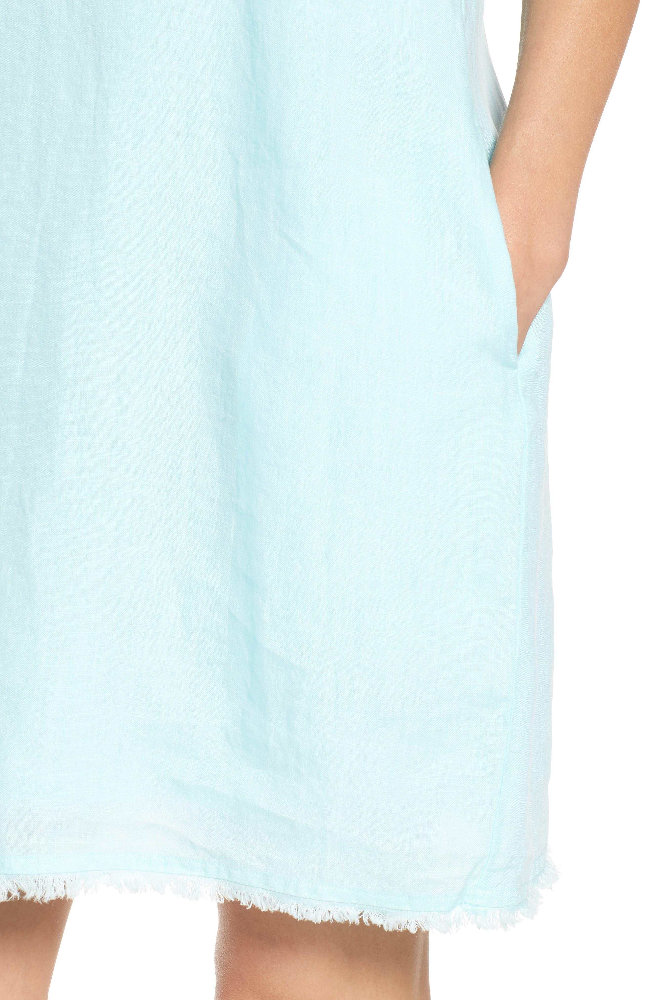 Two Palms Frayed Trim Shift Dress,                             Alternate thumbnail 4, color,                             AQUA MIST