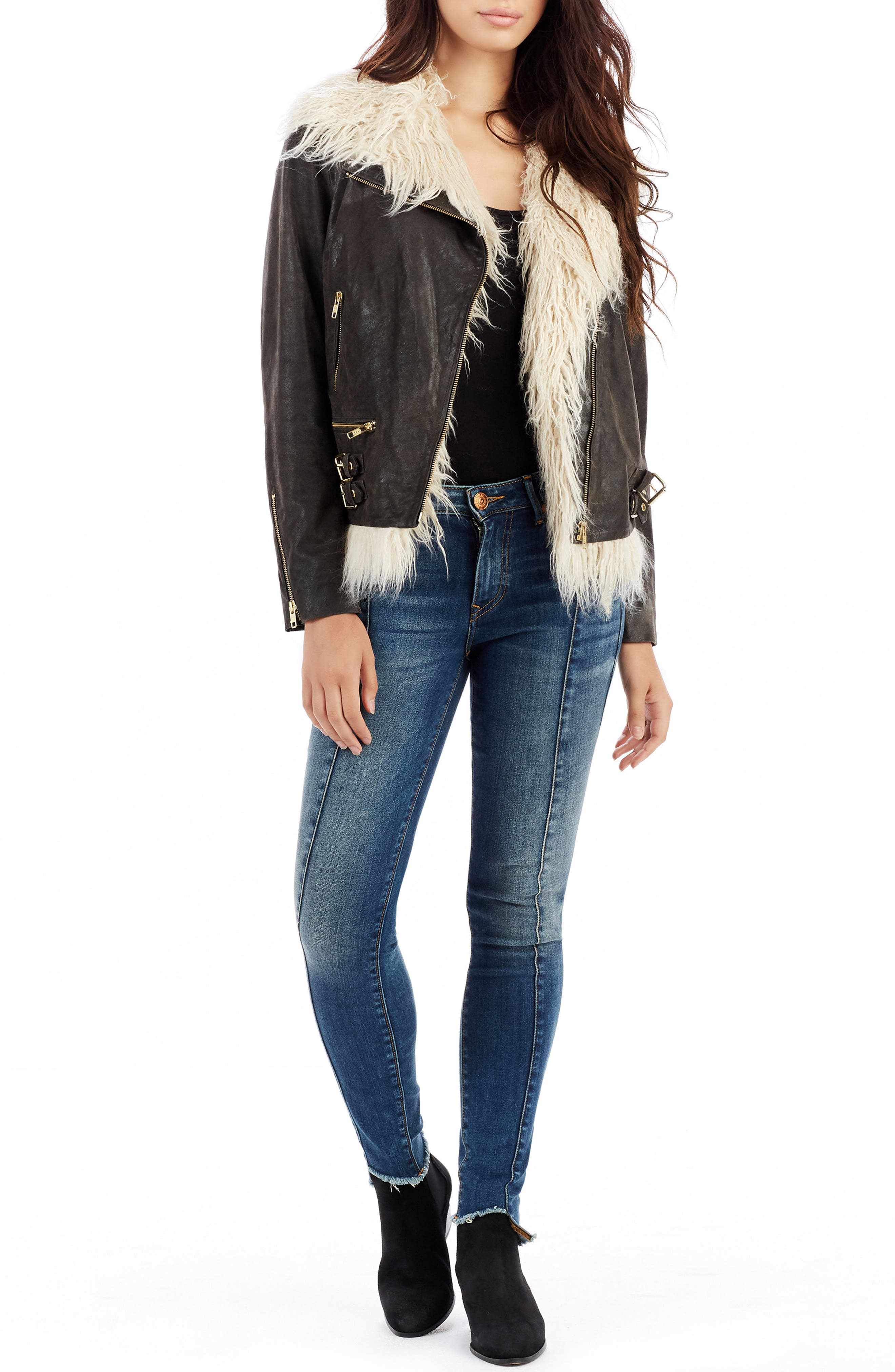 TRUE RELIGION BRAND JEANS,                             Faux Fur Moto Jacket,                             Alternate thumbnail 3, color,                             200