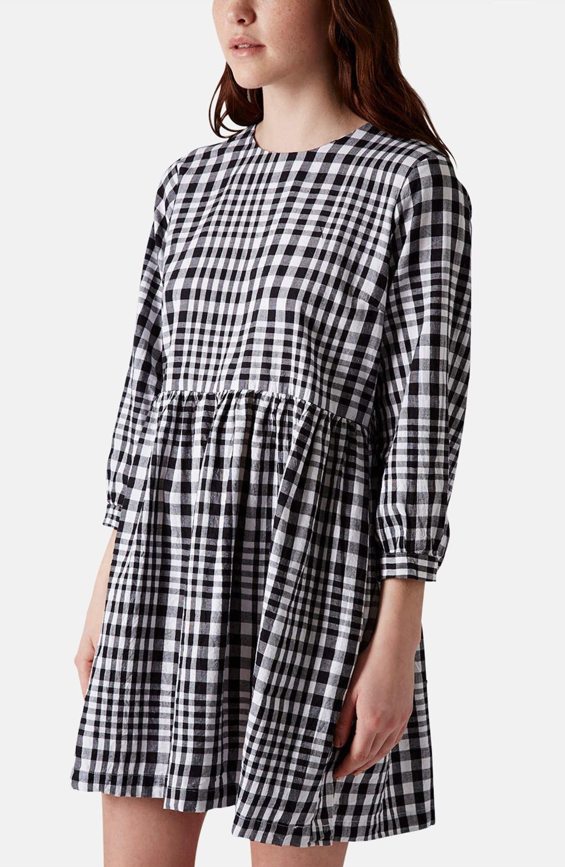 Gingham Cotton Smock Dress, Main, color, 002