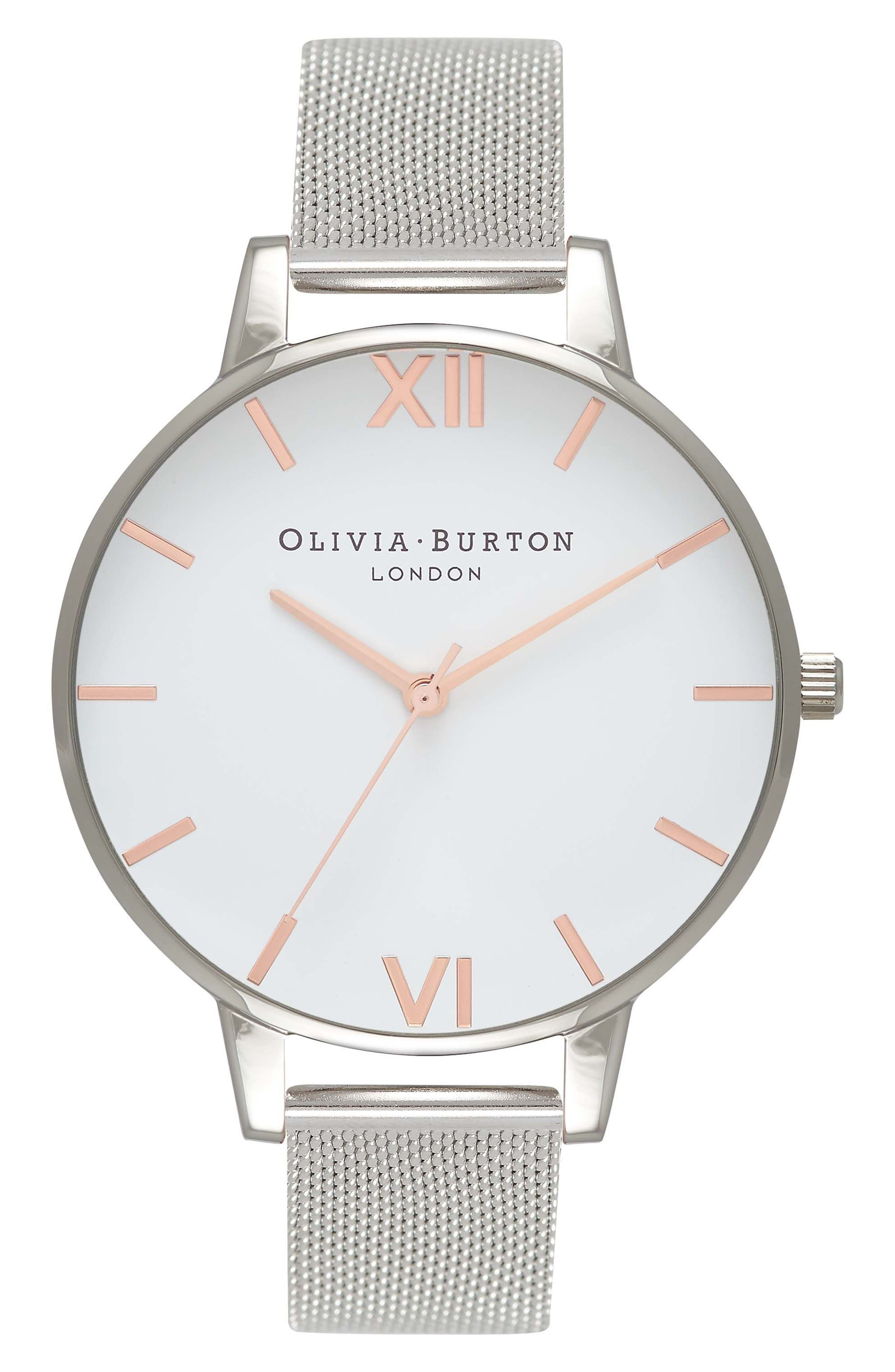Mesh Strap Watch, 38mm,                         Main,                         color, SILVER/ WHITE/ ROSE GOLD