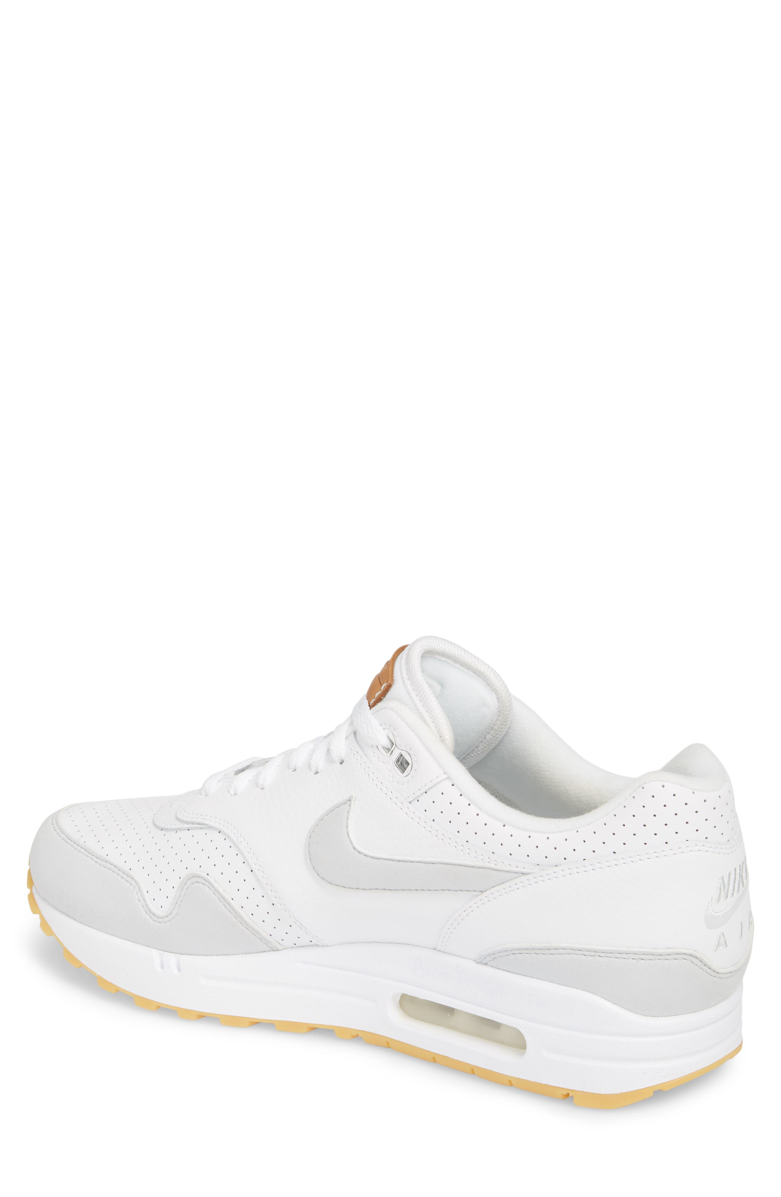 Air Max 1 Sneaker,                             Alternate thumbnail 2, color,                             WHITE/ PURE PLATINUM/ YELLOW