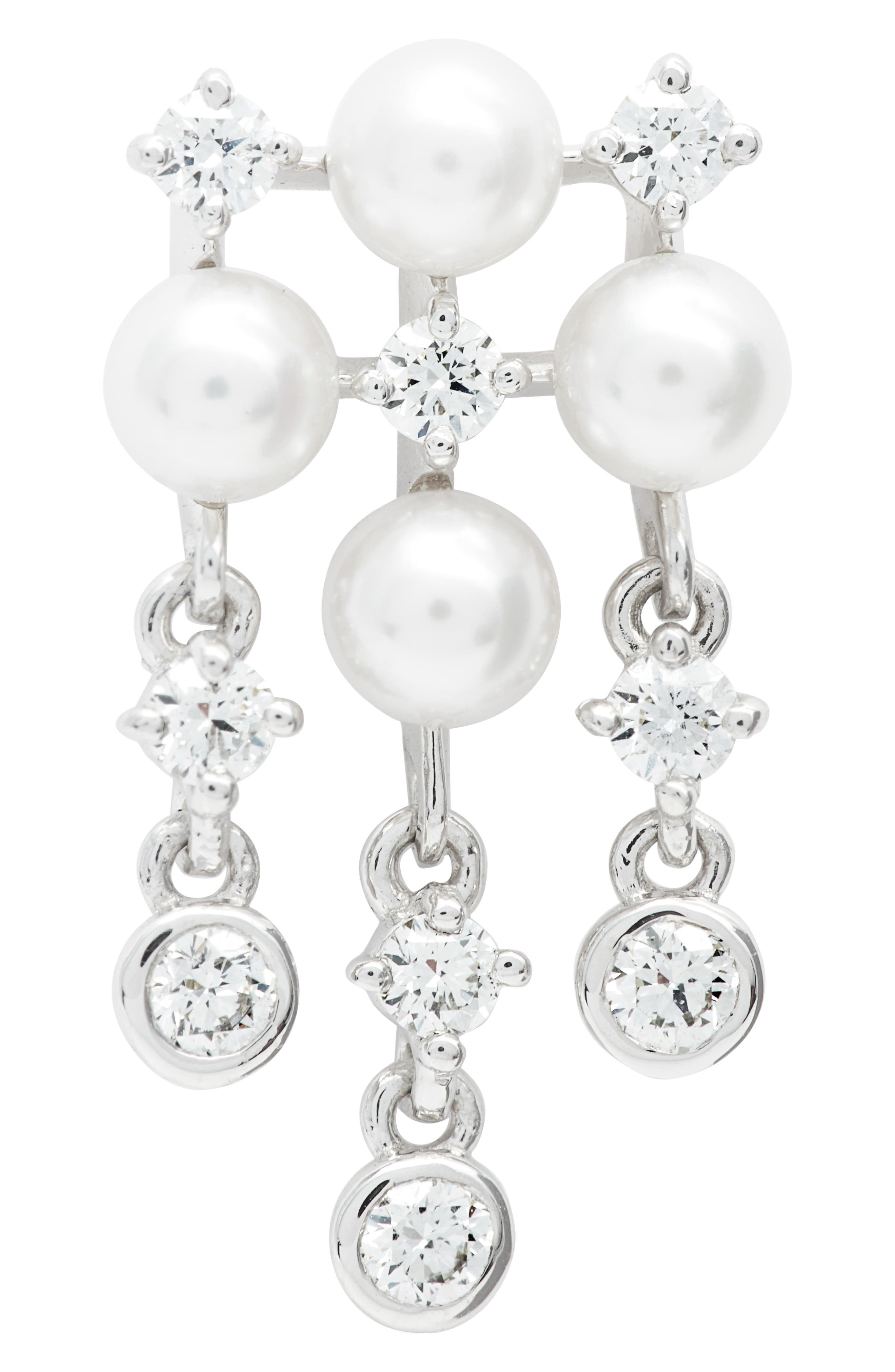 Akoya Cultured Pearl & Diamond Earrings,                             Alternate thumbnail 5, color,                             WHITE GOLD