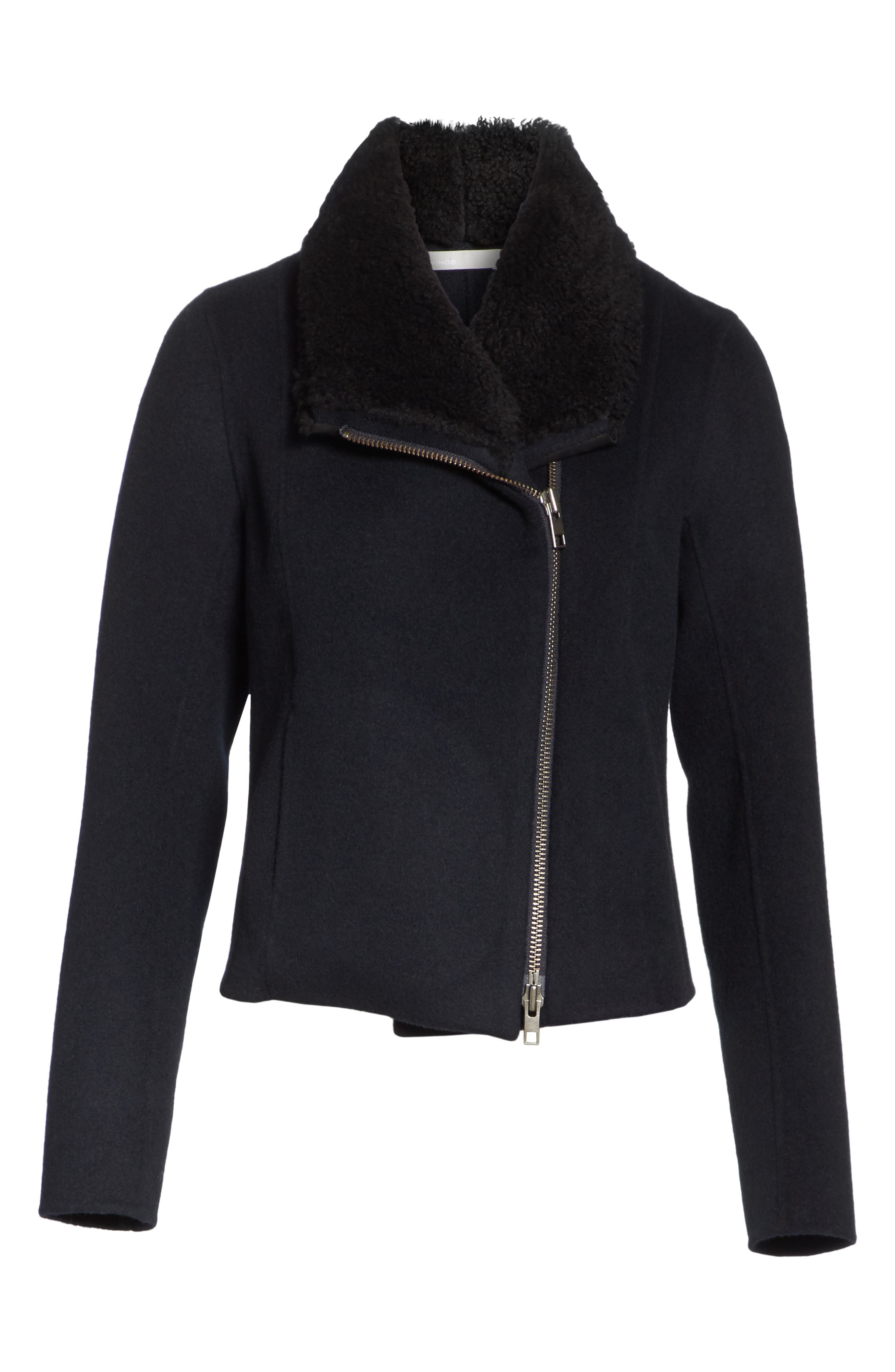 Double Face Genuine Shearling Collar Jacket,                             Alternate thumbnail 6, color,                             COASTAL