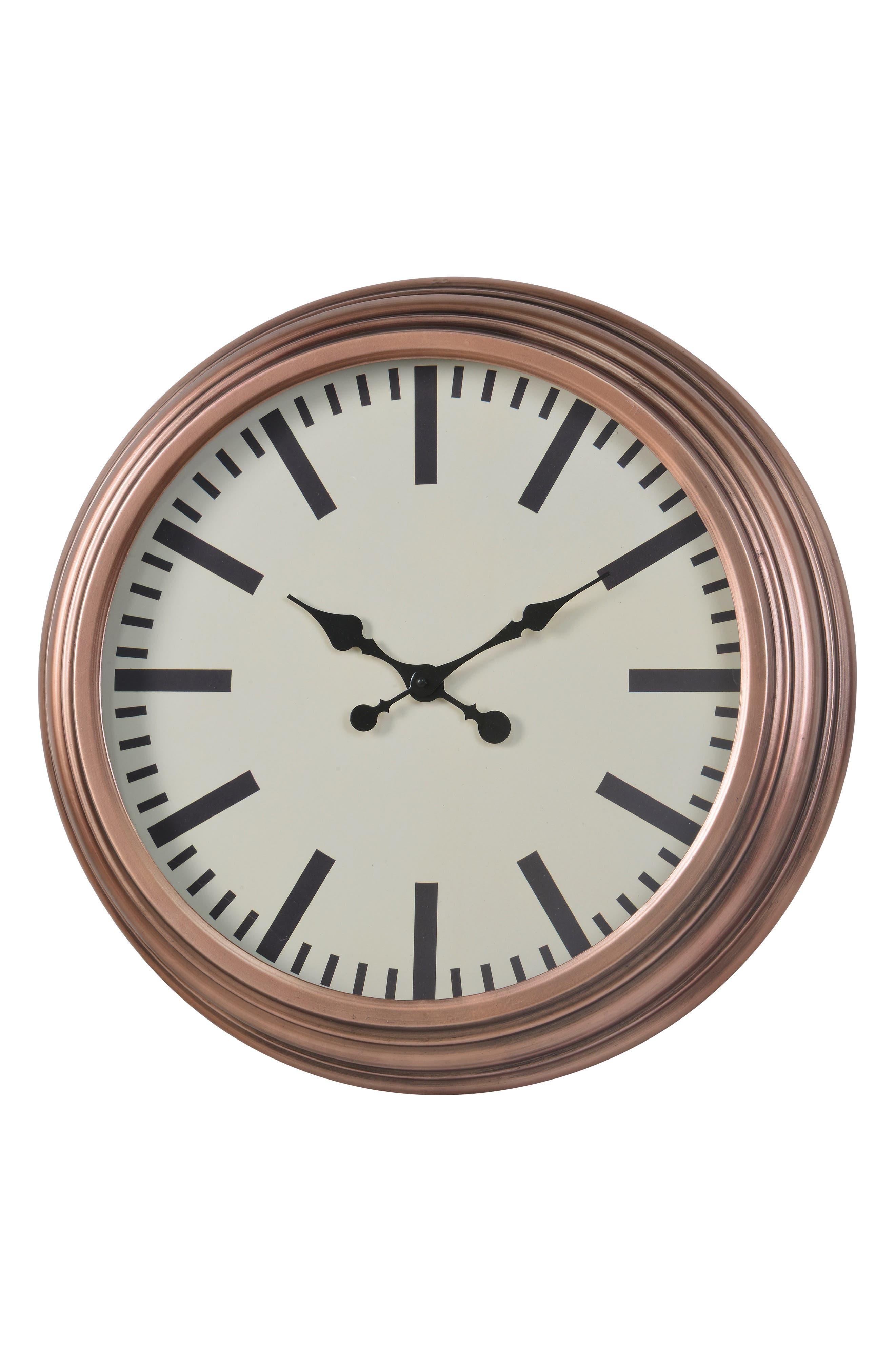 Metal Wall Clock,                             Main thumbnail 1, color,                             METALLIC COPPER