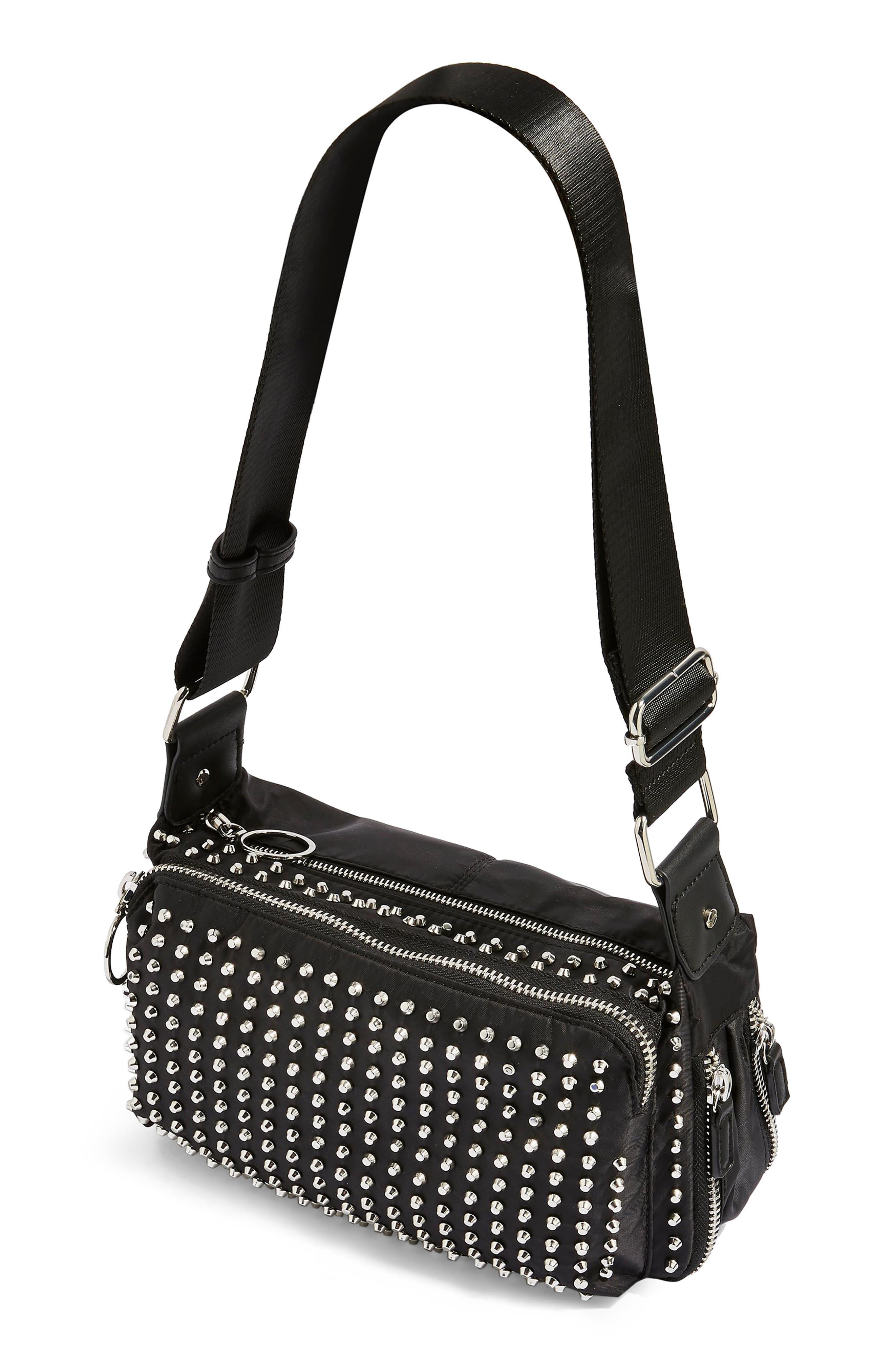 Tokyo Studded Nylon Shoulder Bag,                             Alternate thumbnail 3, color,                             001