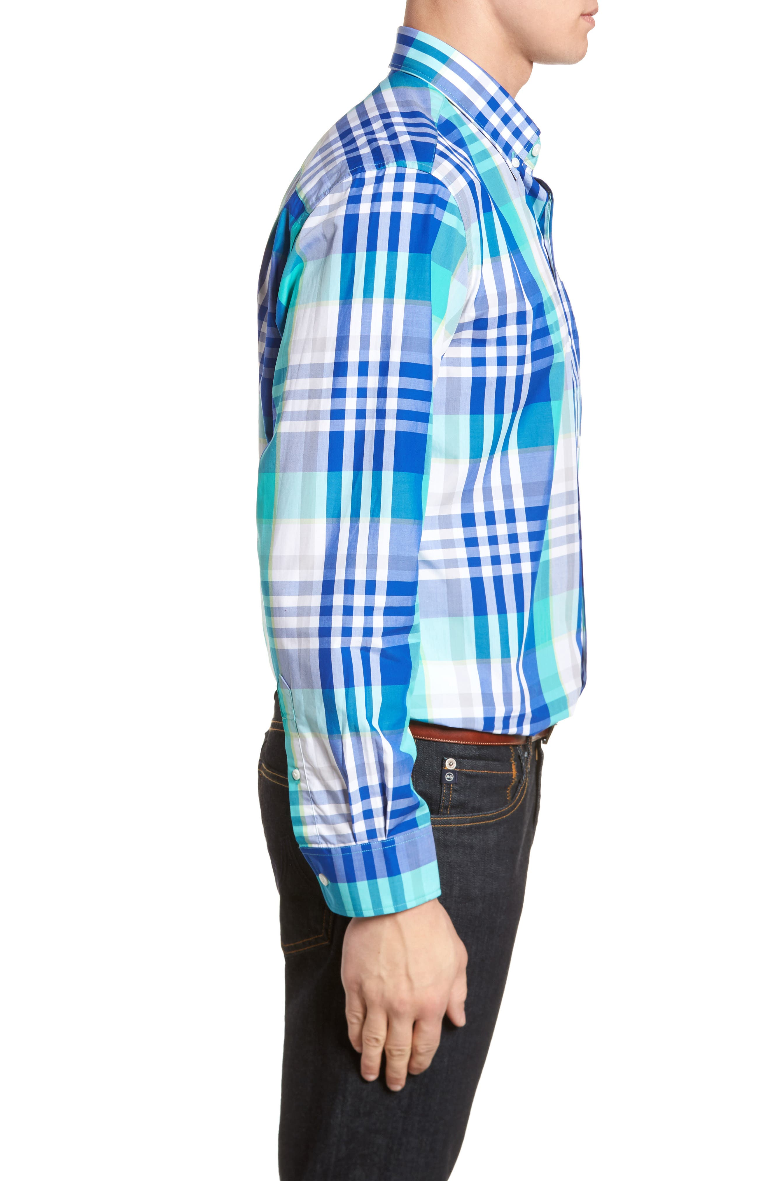 Cooper Classic Fit Non-Iron Plaid Sport Shirt,                             Alternate thumbnail 5, color,