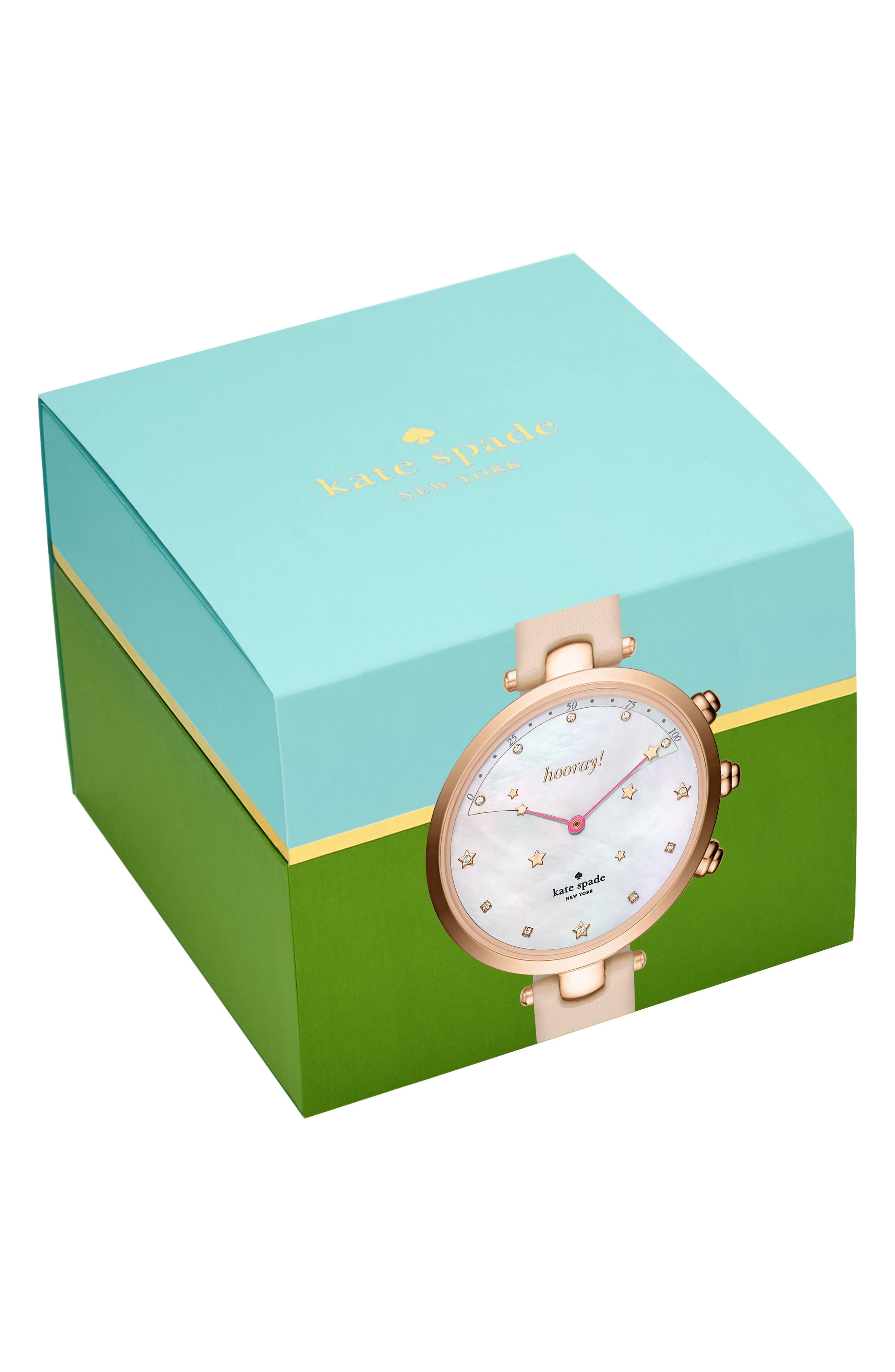 holland hybrid leather strap watch, 37mm,                             Alternate thumbnail 3, color,
