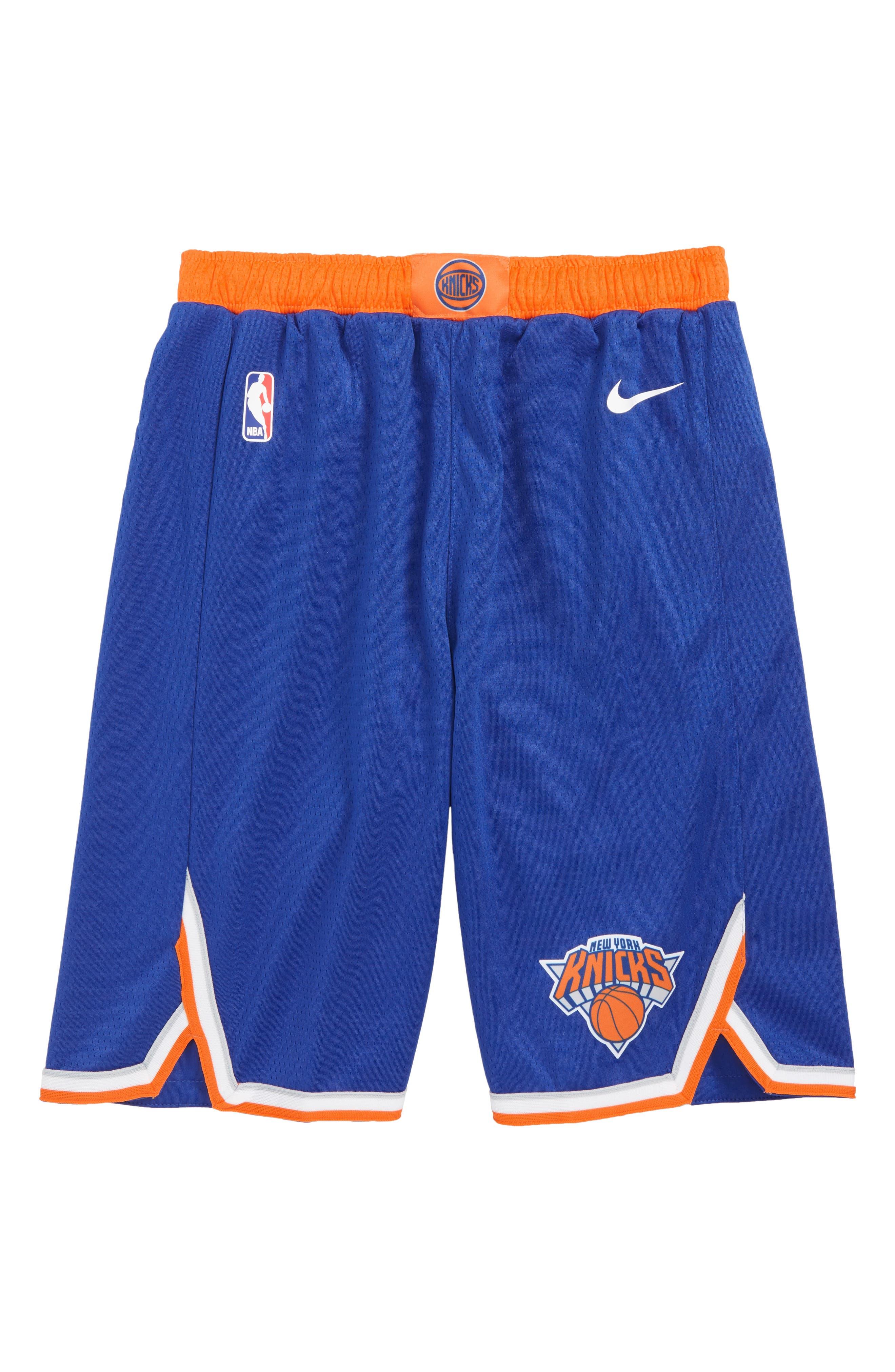 Icon New York Knicks Basketball Shorts,                             Main thumbnail 1, color,                             RUSH BLUE