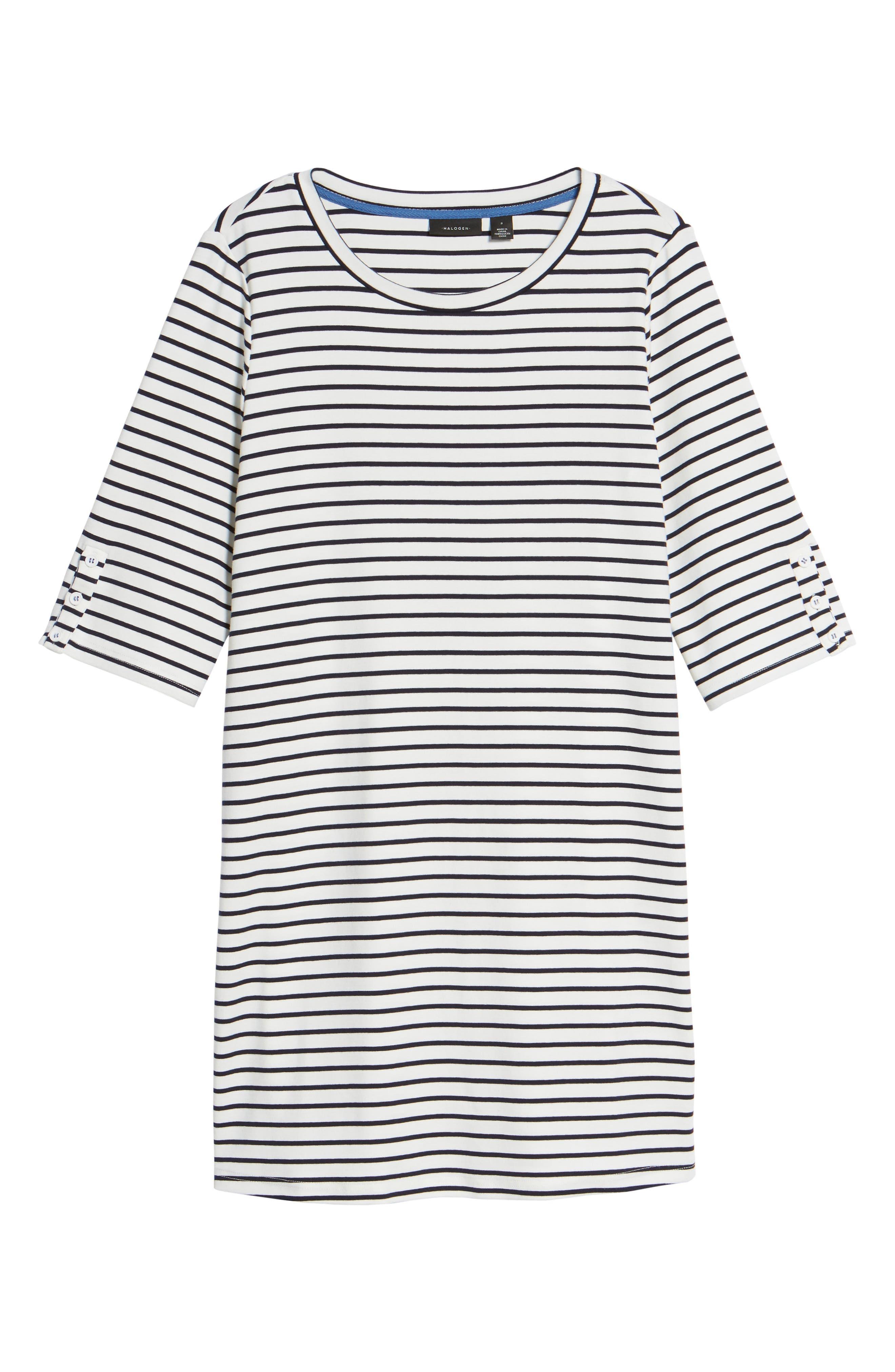 Twill Tape Trim Knit Dress,                             Alternate thumbnail 6, color,                             001