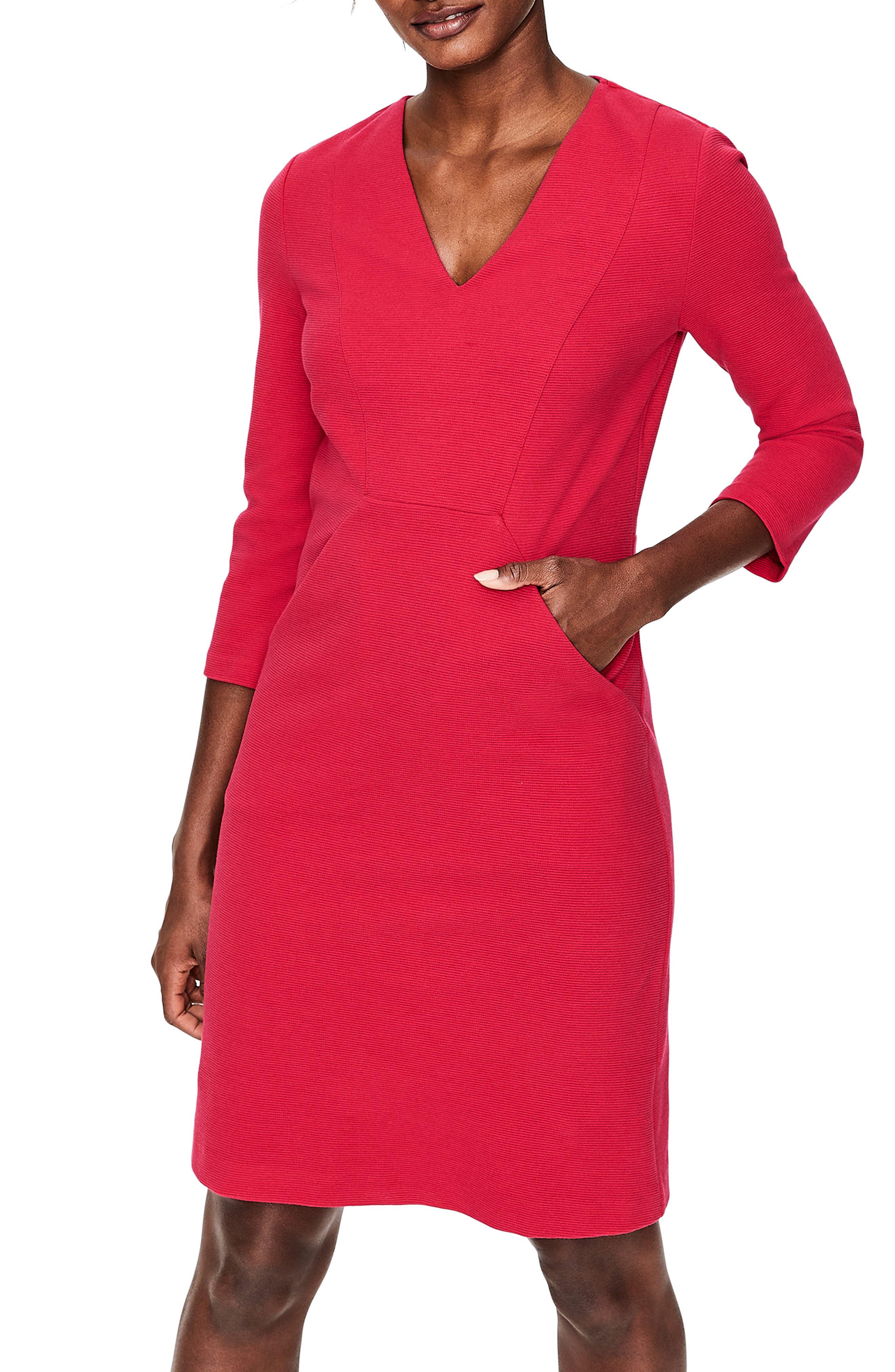women's boden bronte sheath dress, size 12 - pink