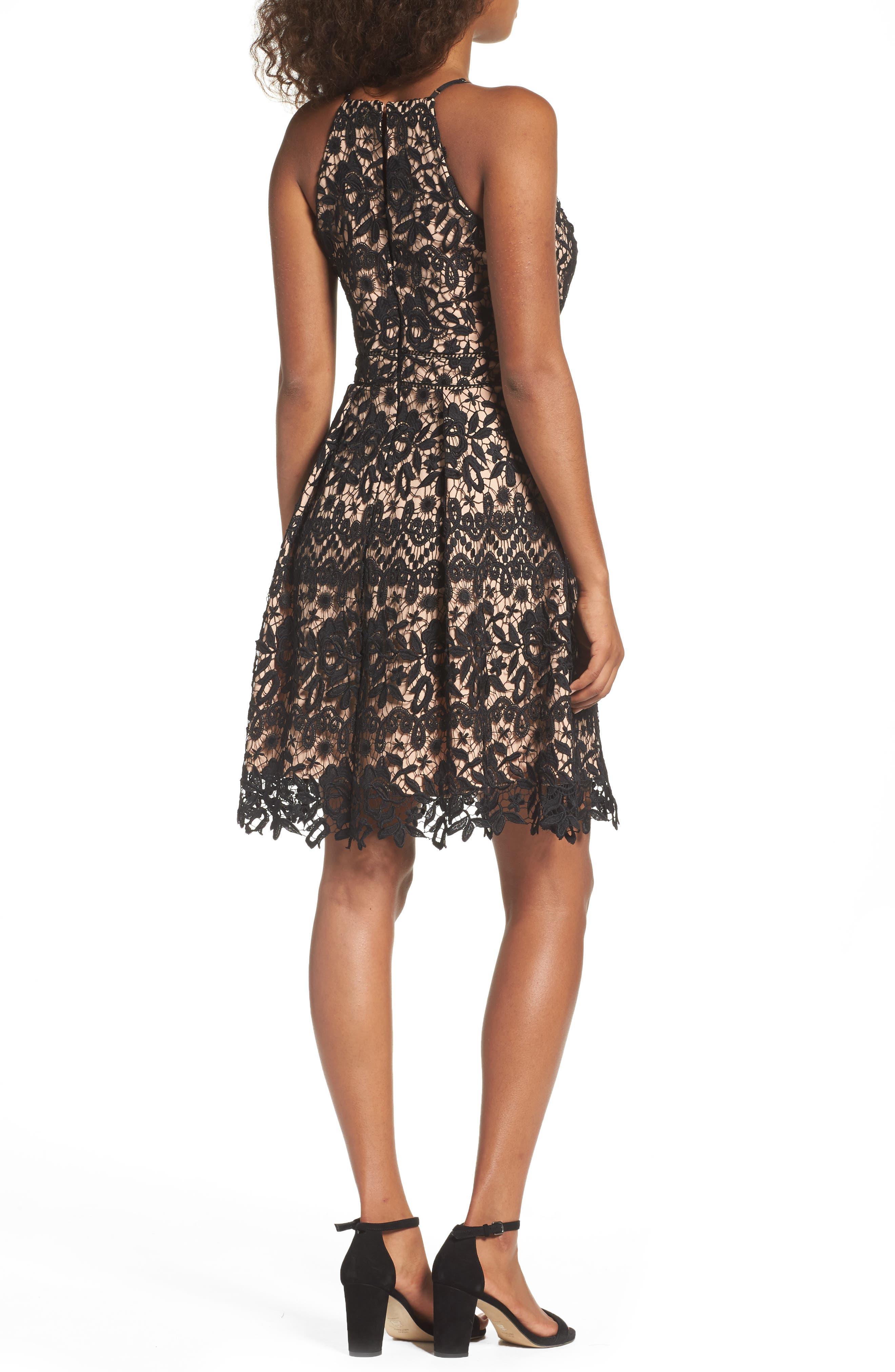Krista Lace Fit & Flare Dress,                             Alternate thumbnail 2, color,                             001