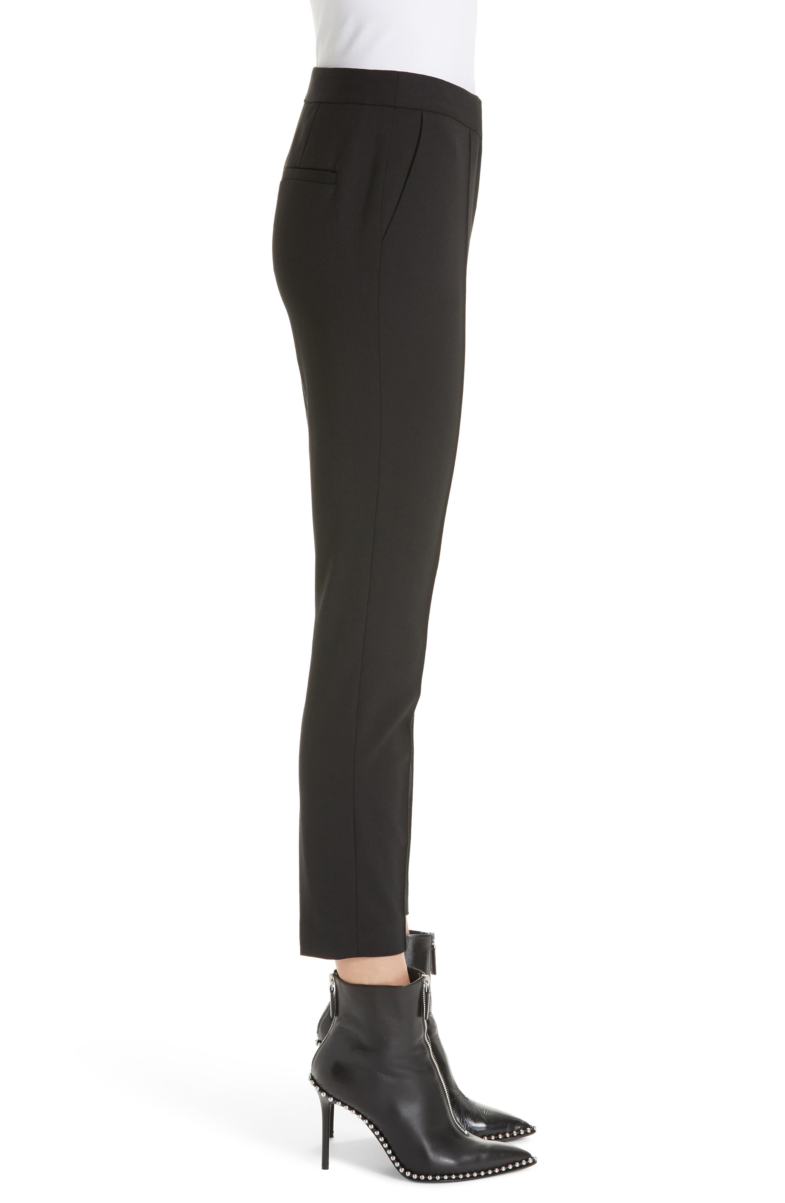 Pintucked Stretch Wool Blend Slim Trousers,                             Alternate thumbnail 3, color,                             BLACK