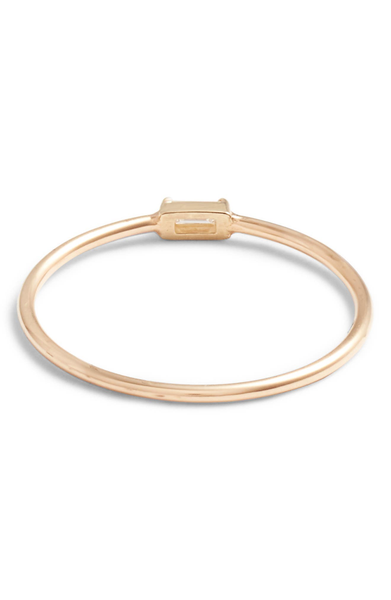 Baguette Diamond Stacking Ring,                             Alternate thumbnail 3, color,                             YELLOW GOLD