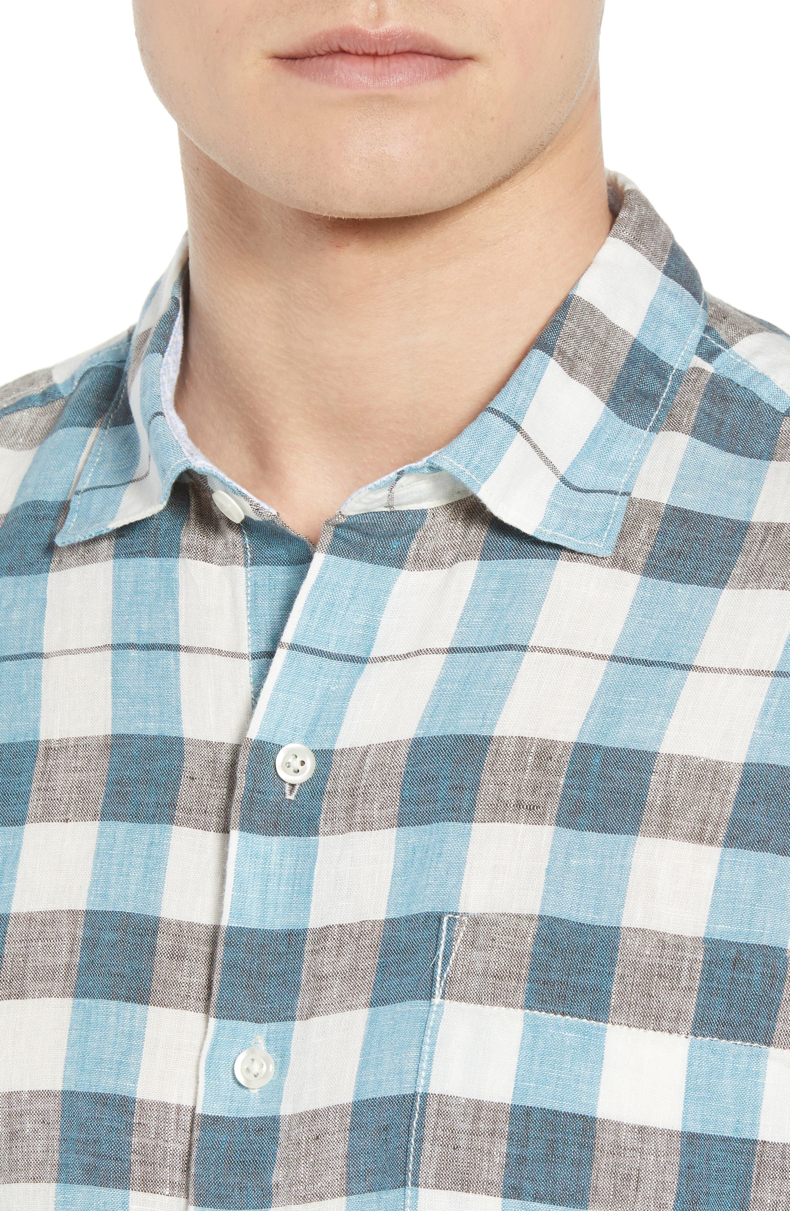 La Grande Gingham Linen Sport Shirt,                             Alternate thumbnail 4, color,                             COBALT SEA