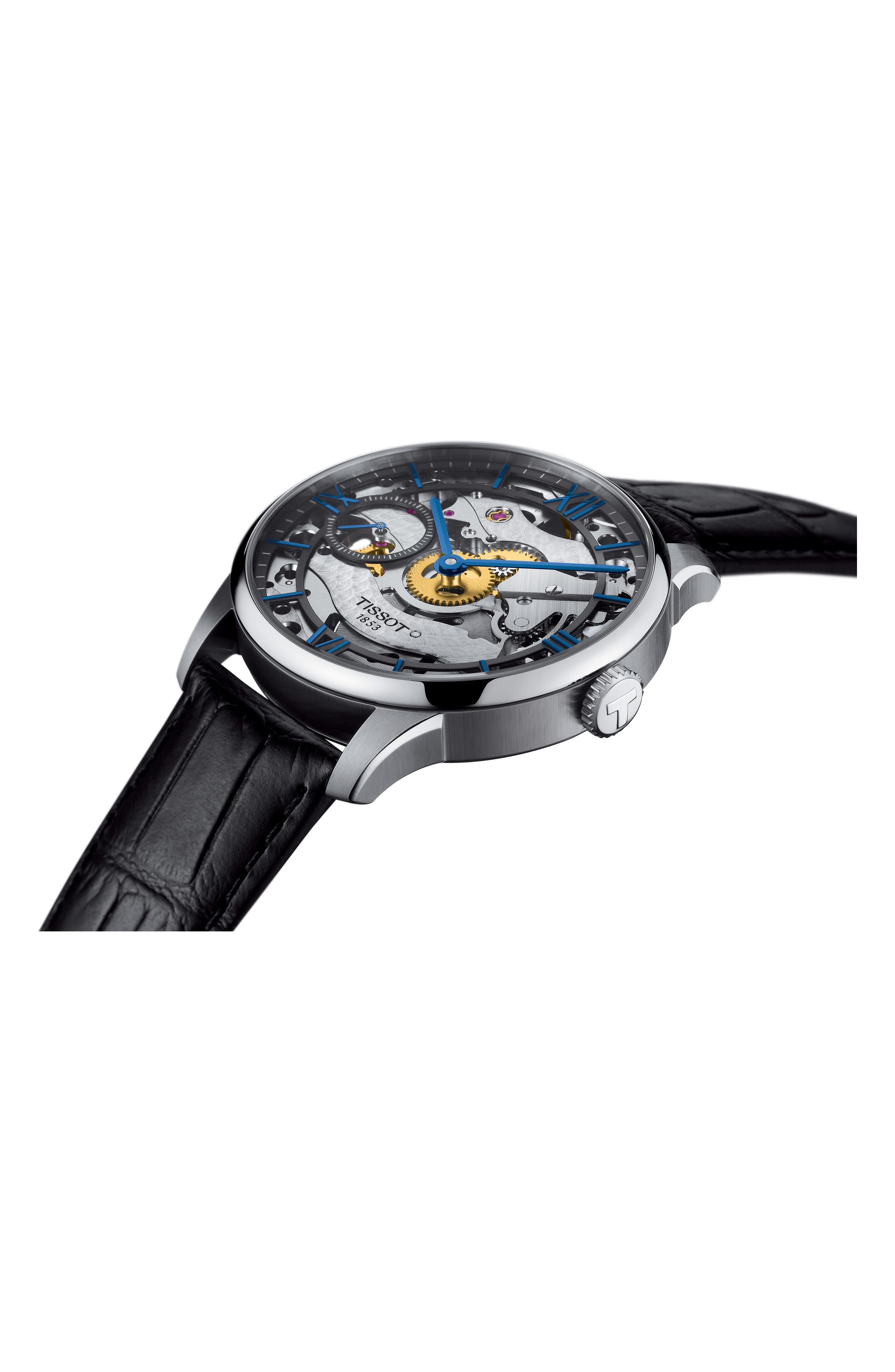 T-Complication Squellette Mechanical Watch, 42mm,                             Alternate thumbnail 4, color,                             BLACK/ SILVER