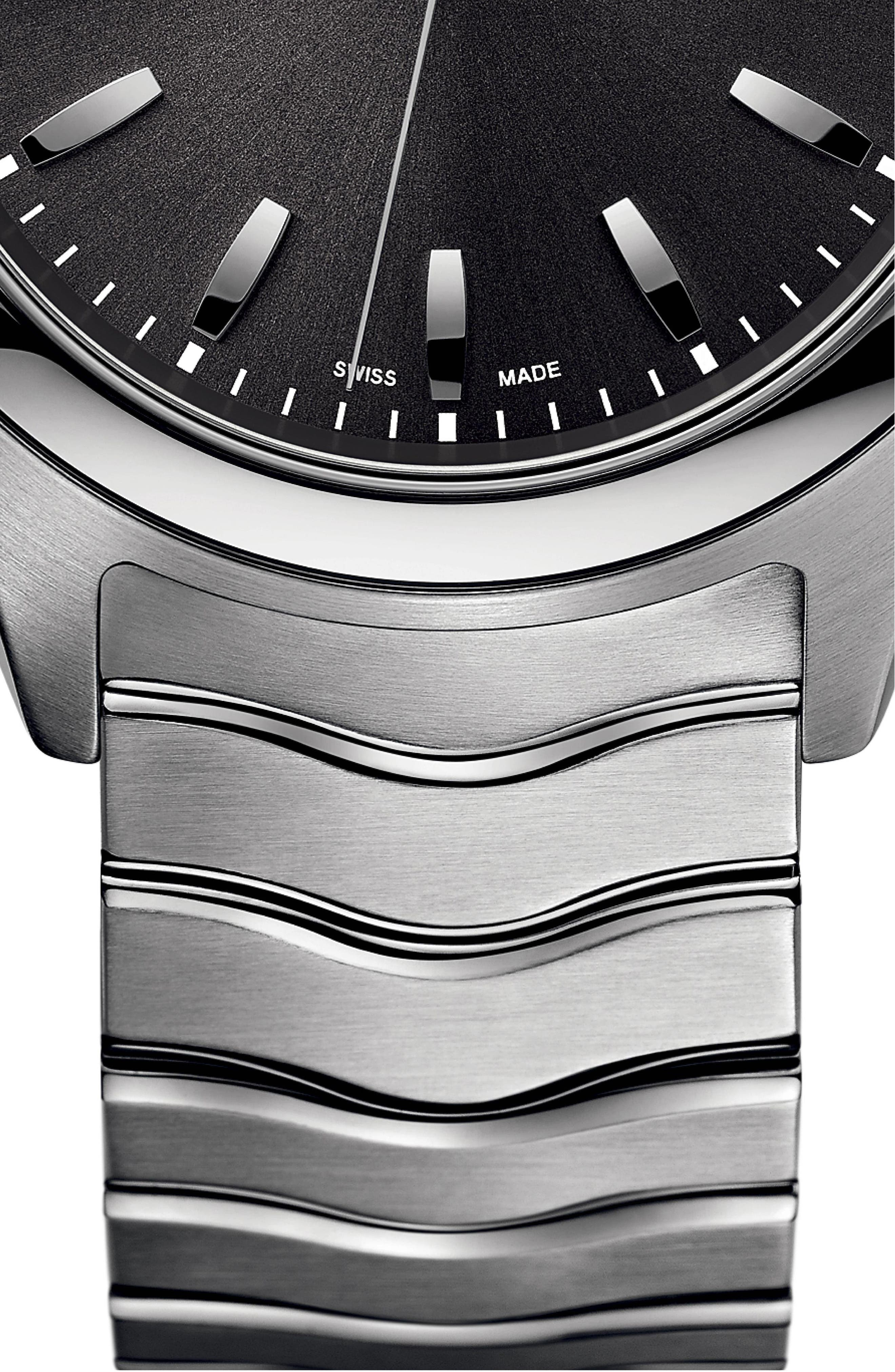 Wave Bracelet Watch, 40mm,                             Alternate thumbnail 3, color,                             SILVER/ ANTHRACITE/ SILVER