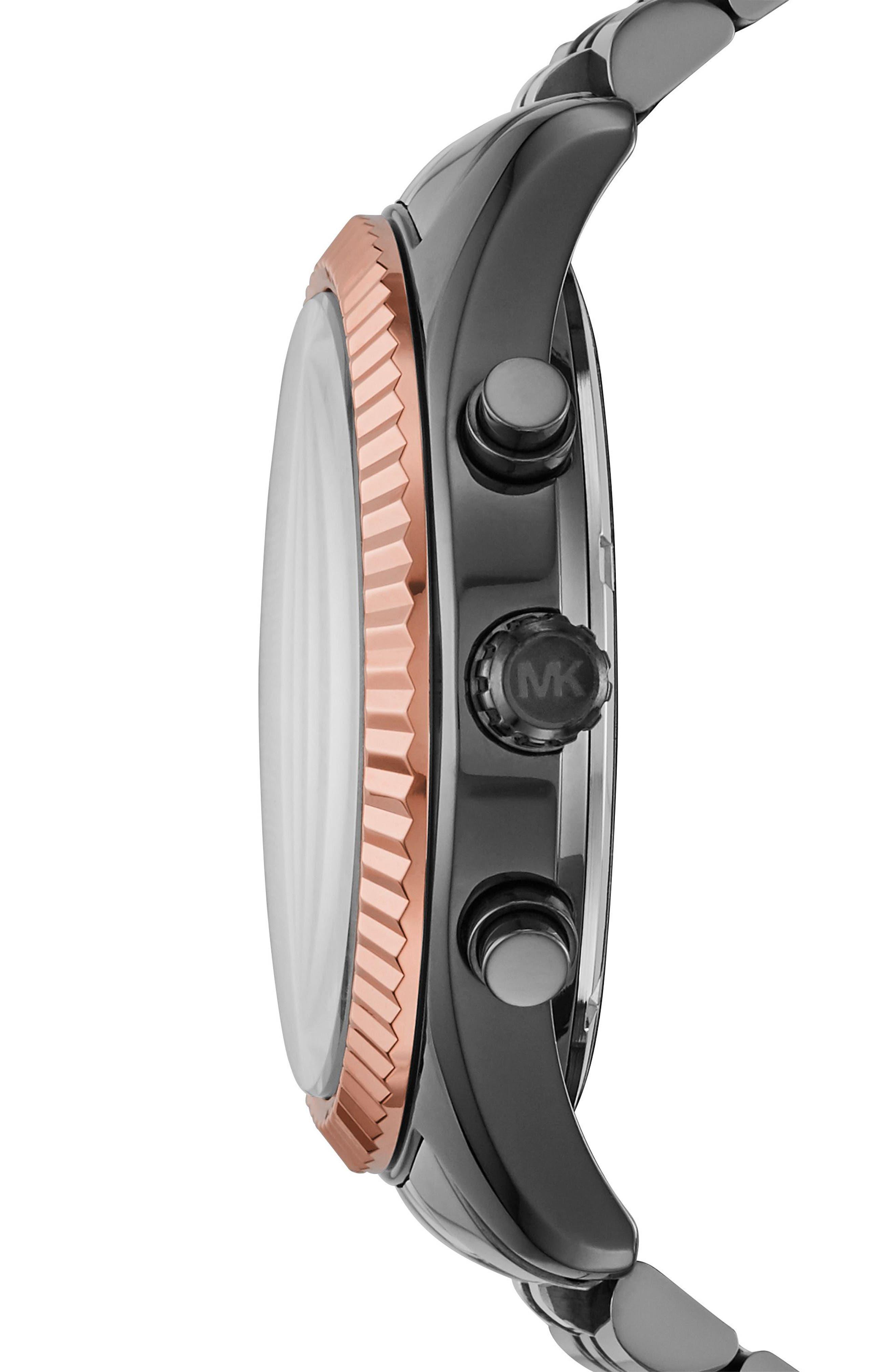 'Lexington' Chronograph Bracelet Watch,44mm,                             Alternate thumbnail 2, color,                             GUNMETAL/ ROSE GOLD