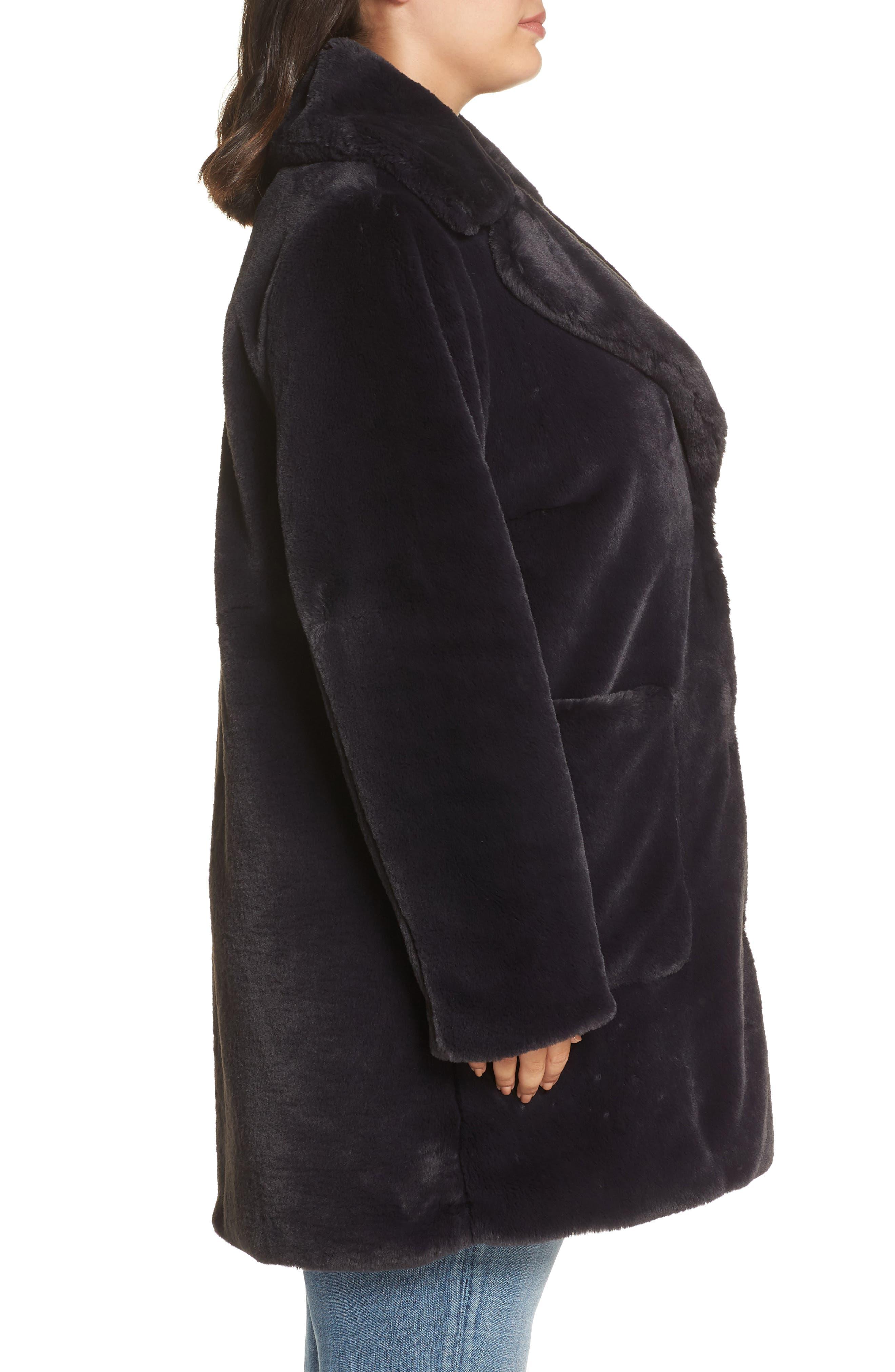 Faux Fur Coat,                             Alternate thumbnail 3, color,                             SLATE