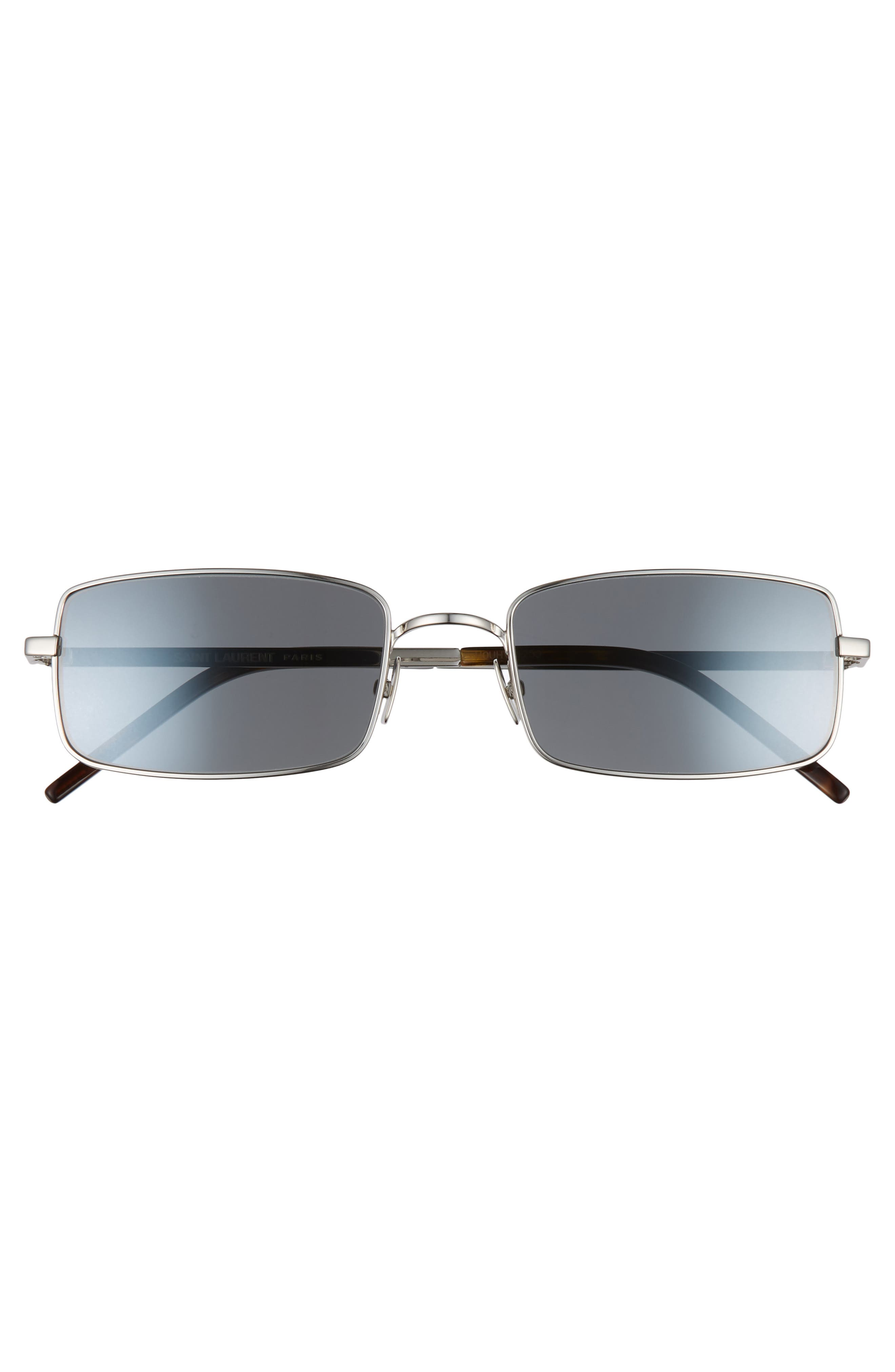 56mm Rectangle Sunglasses,                             Alternate thumbnail 3, color,                             SILVER/ GREY
