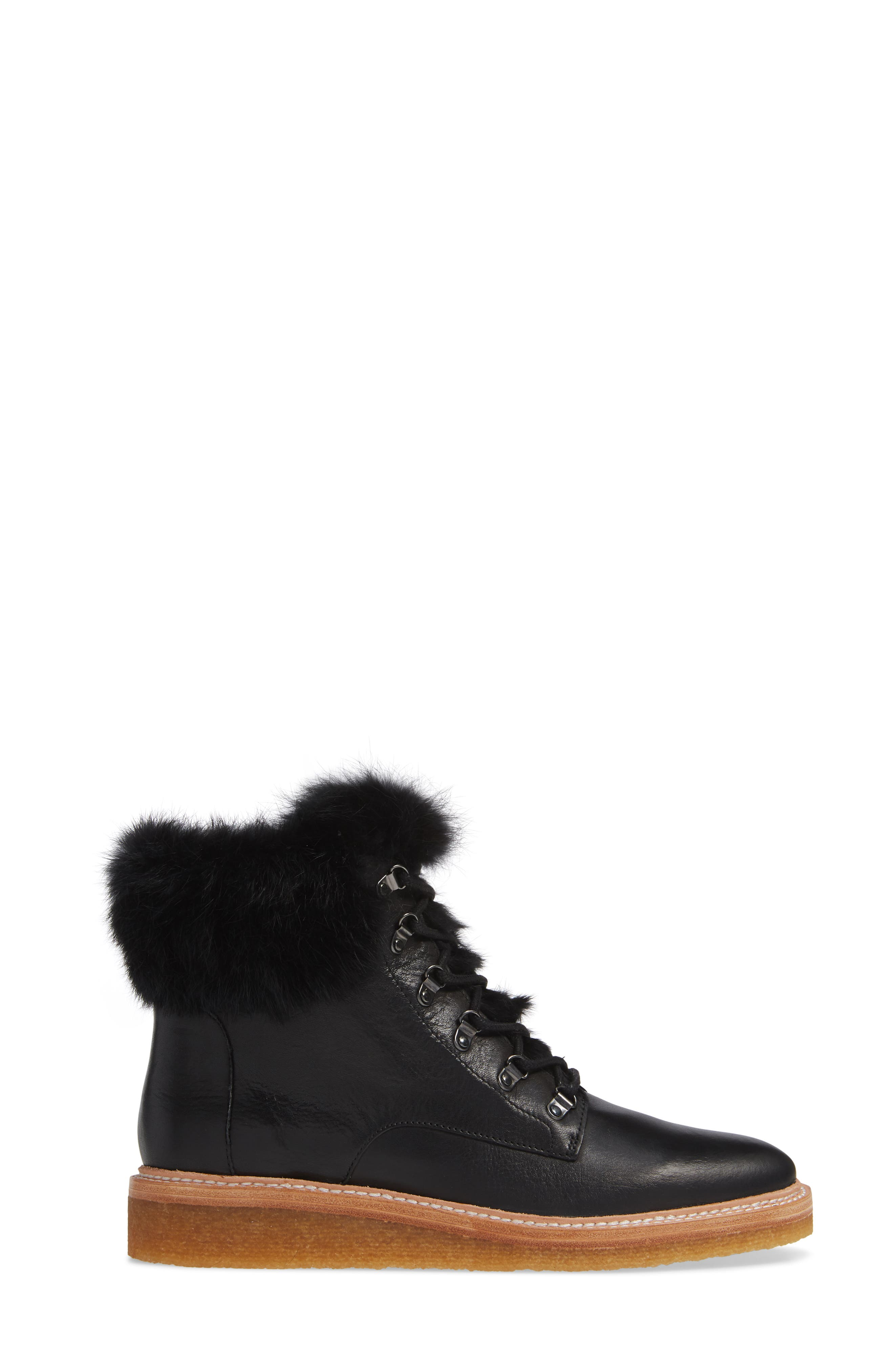 Winter Genuine Rabbit Fur Trim Boot,                             Alternate thumbnail 3, color,                             BLACK LEATHER