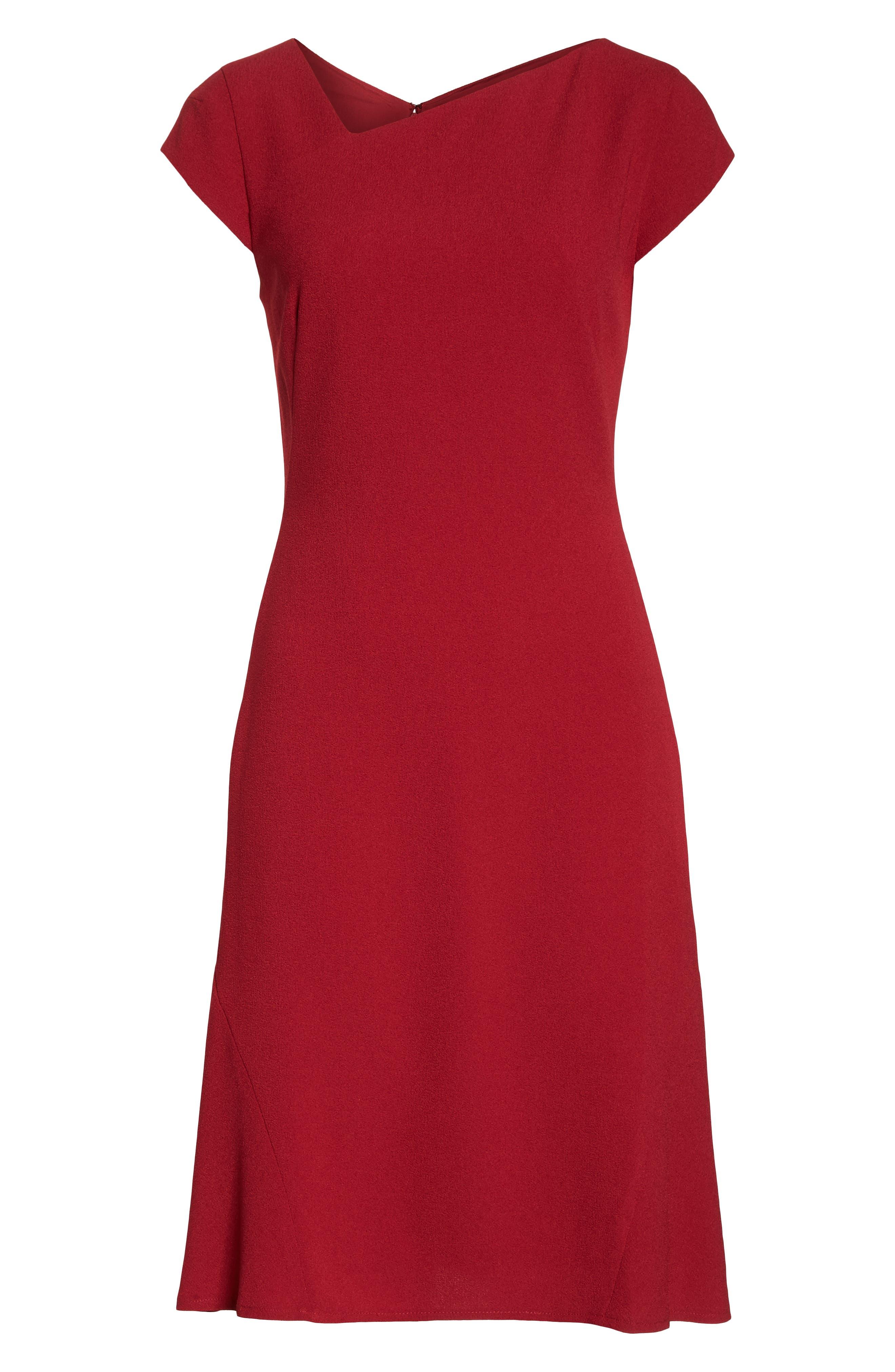 Asymmetrical Neck Fit & Flare Dress,                             Alternate thumbnail 7, color,                             GARNET