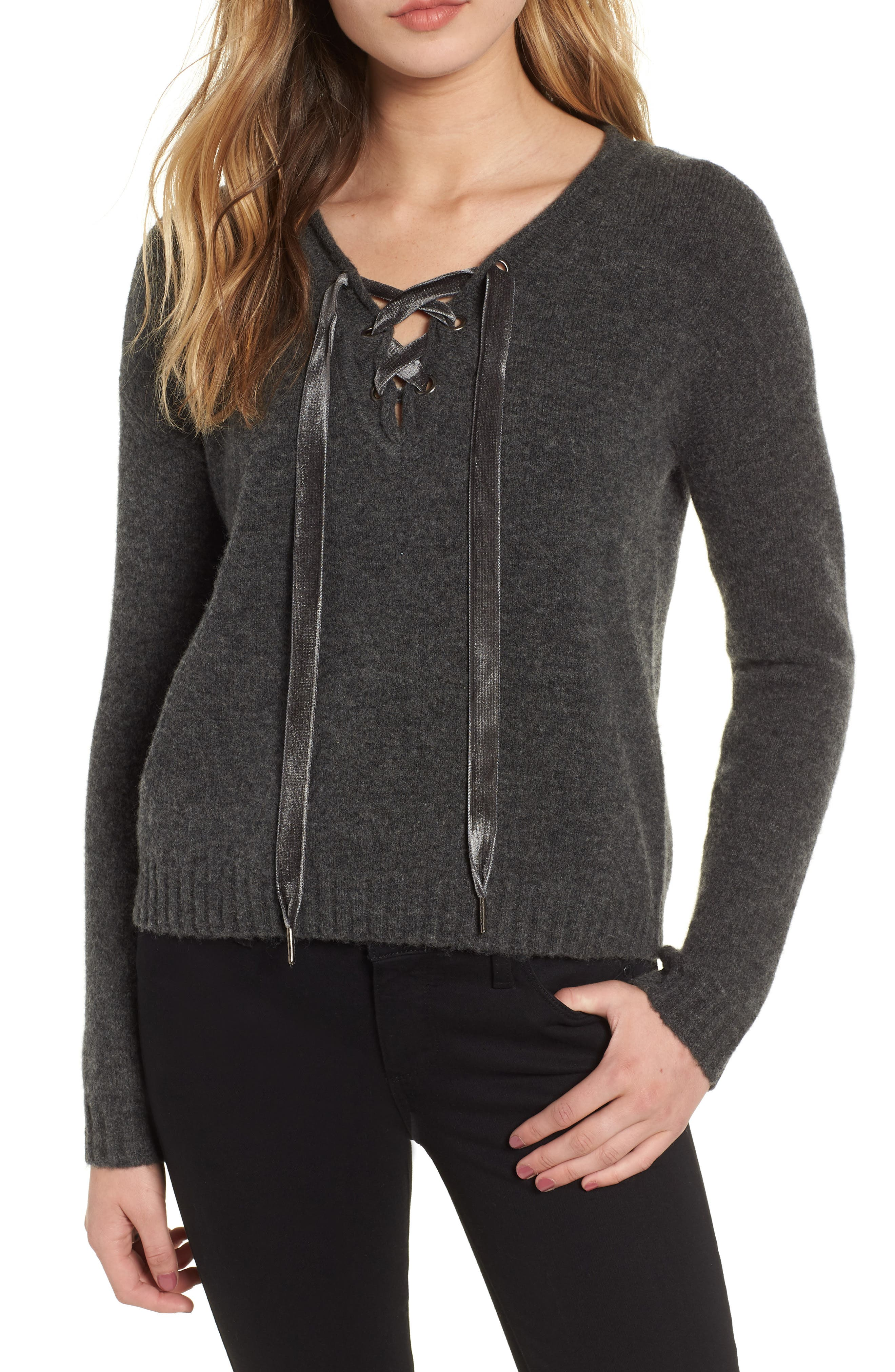 Amelia Lace-Up Wool & Cashmere Blend Sweater in Charcoal