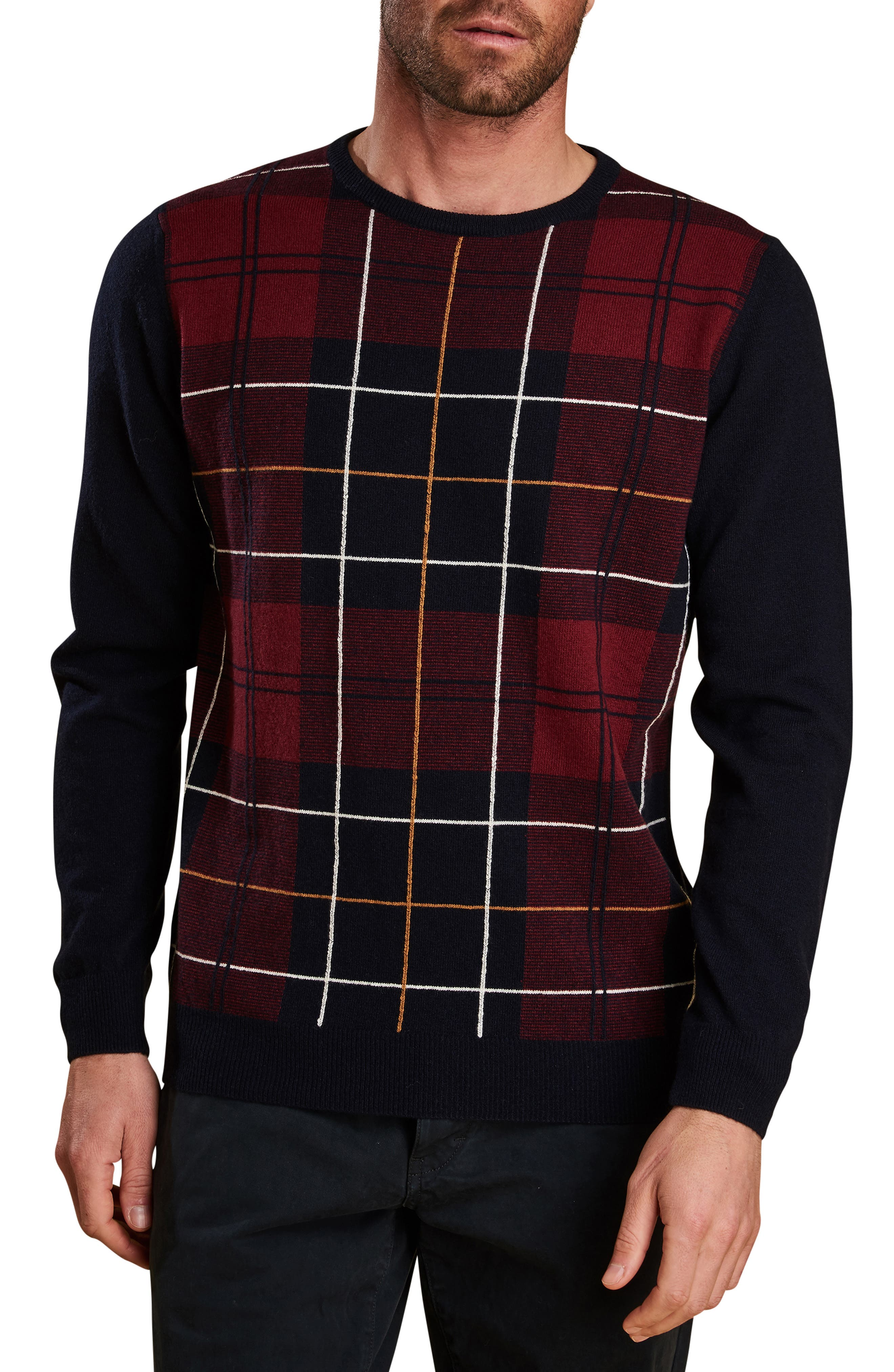Barbour Coldwater Plaid Wool Crewneck Sweater, Blue