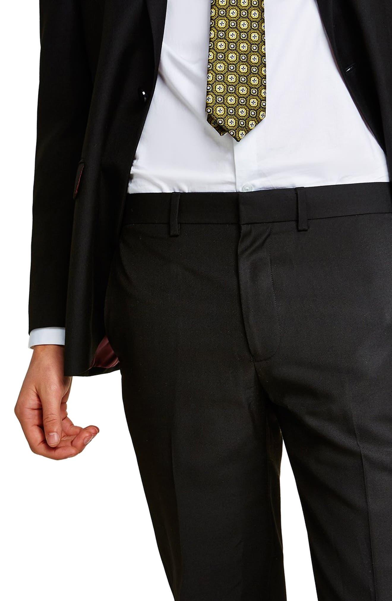 Slim Fit Suit Trousers,                             Alternate thumbnail 3, color,                             BLACK