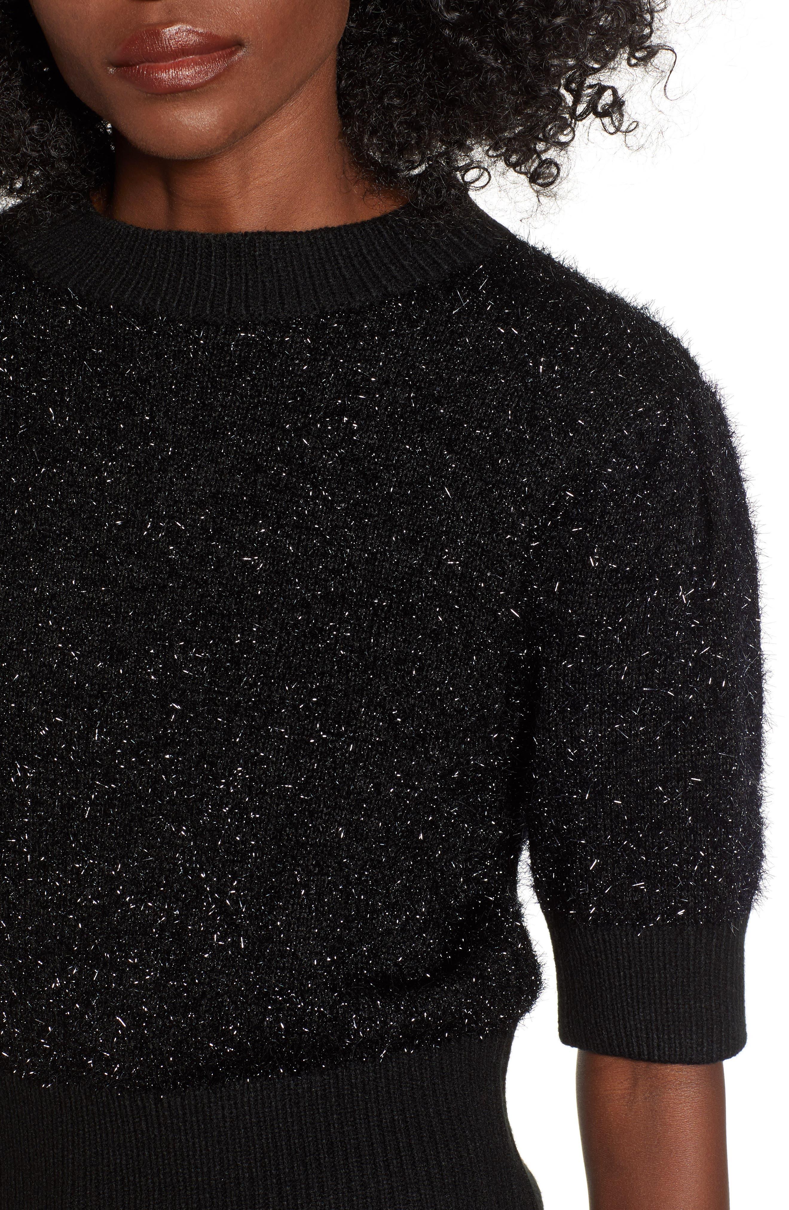 Sparkle Crop Sweater,                             Alternate thumbnail 4, color,                             001