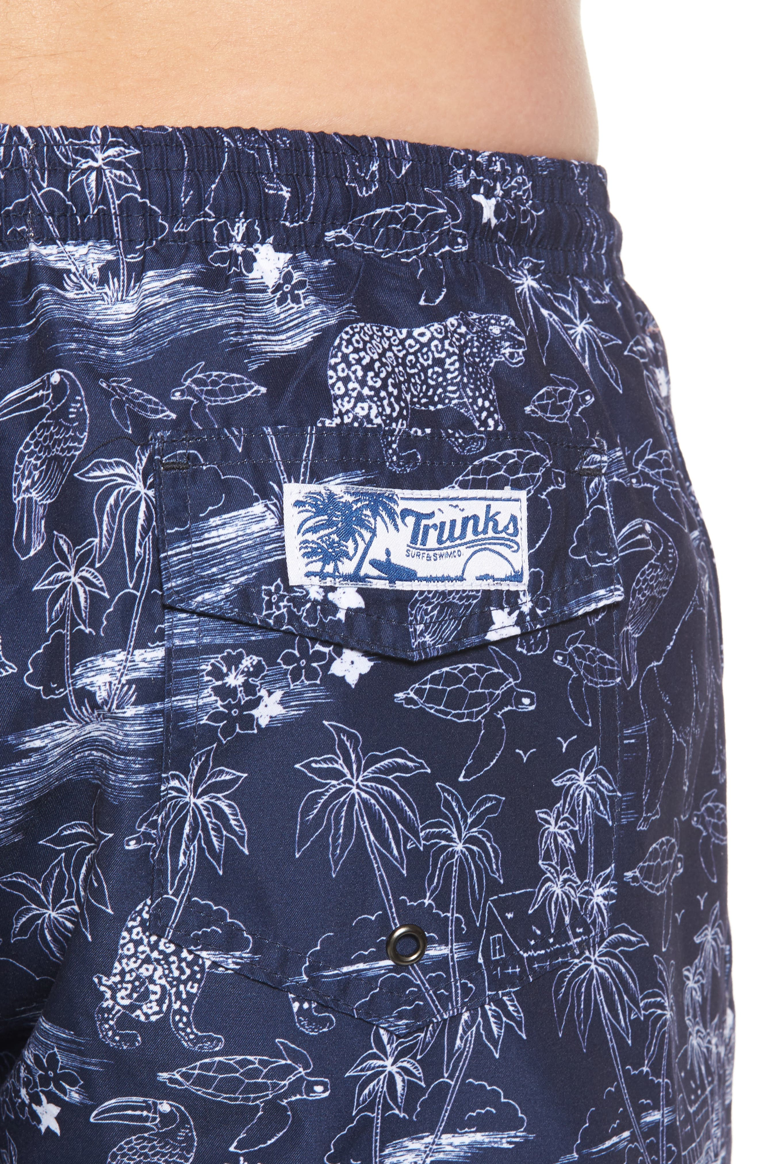 Trunks Surf & Co. San O Jungle Safari Swim Trunks,                             Alternate thumbnail 4, color,                             100