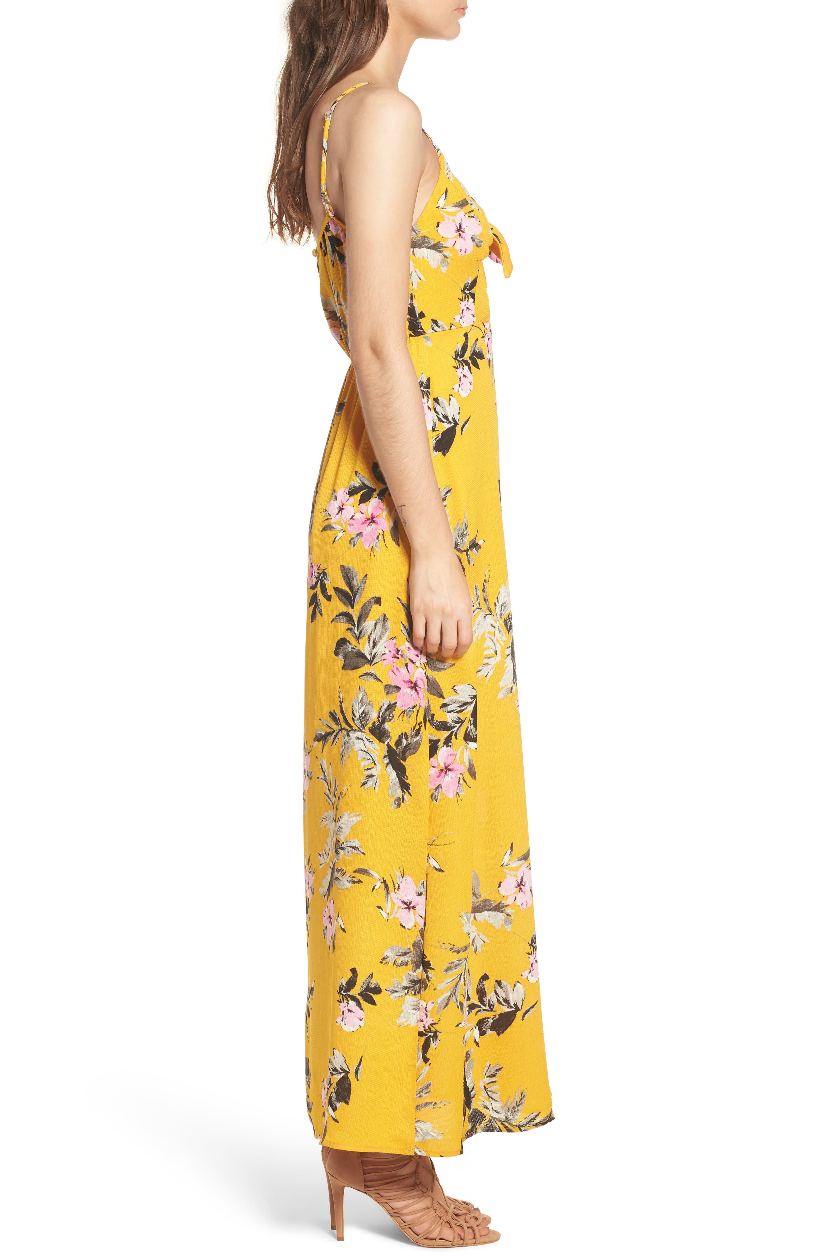 Tie Front Maxi Dress,                             Alternate thumbnail 3, color,                             700