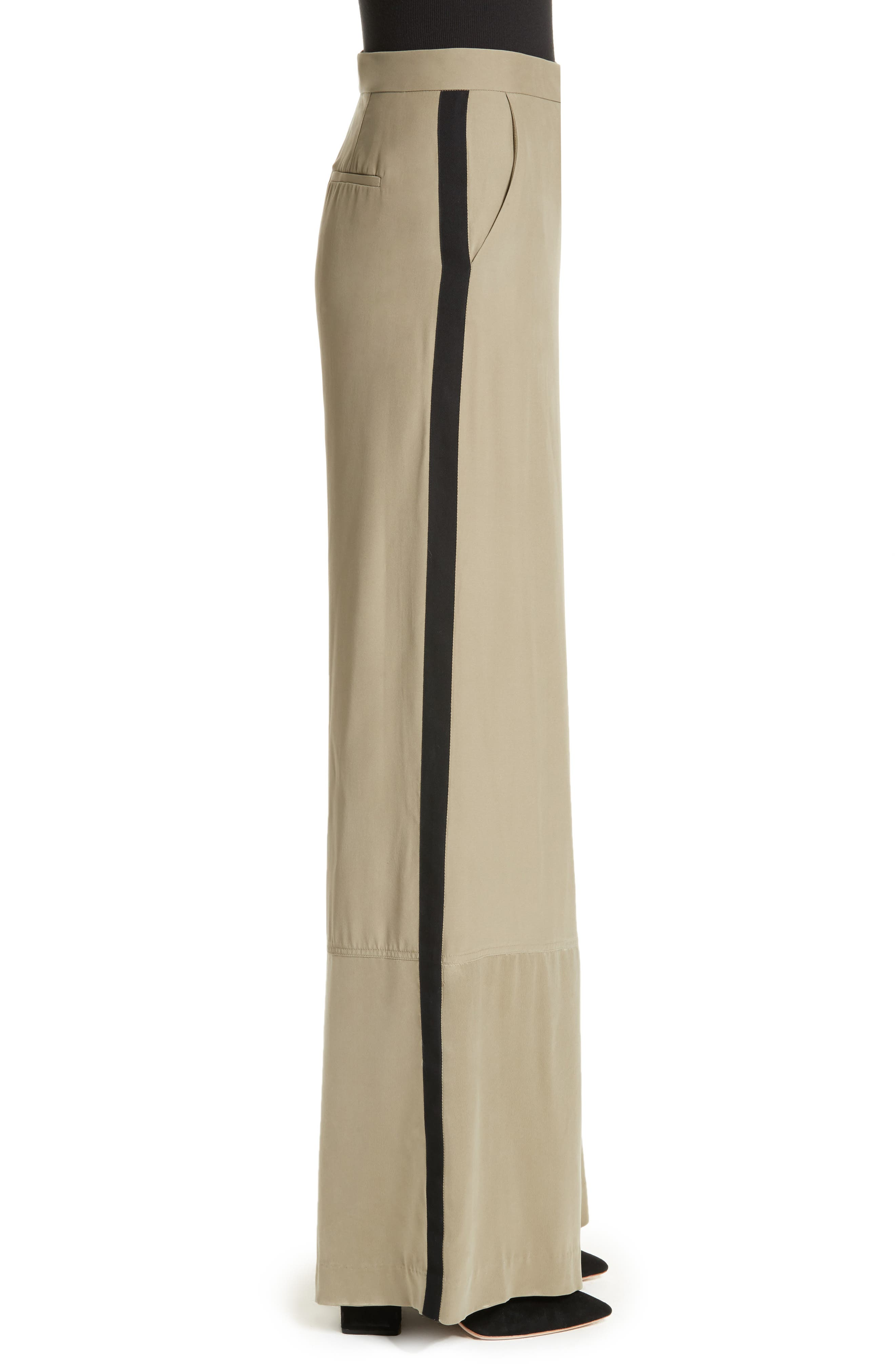 Satin Contrast Wide Leg Silk Pants,                             Alternate thumbnail 3, color,                             300