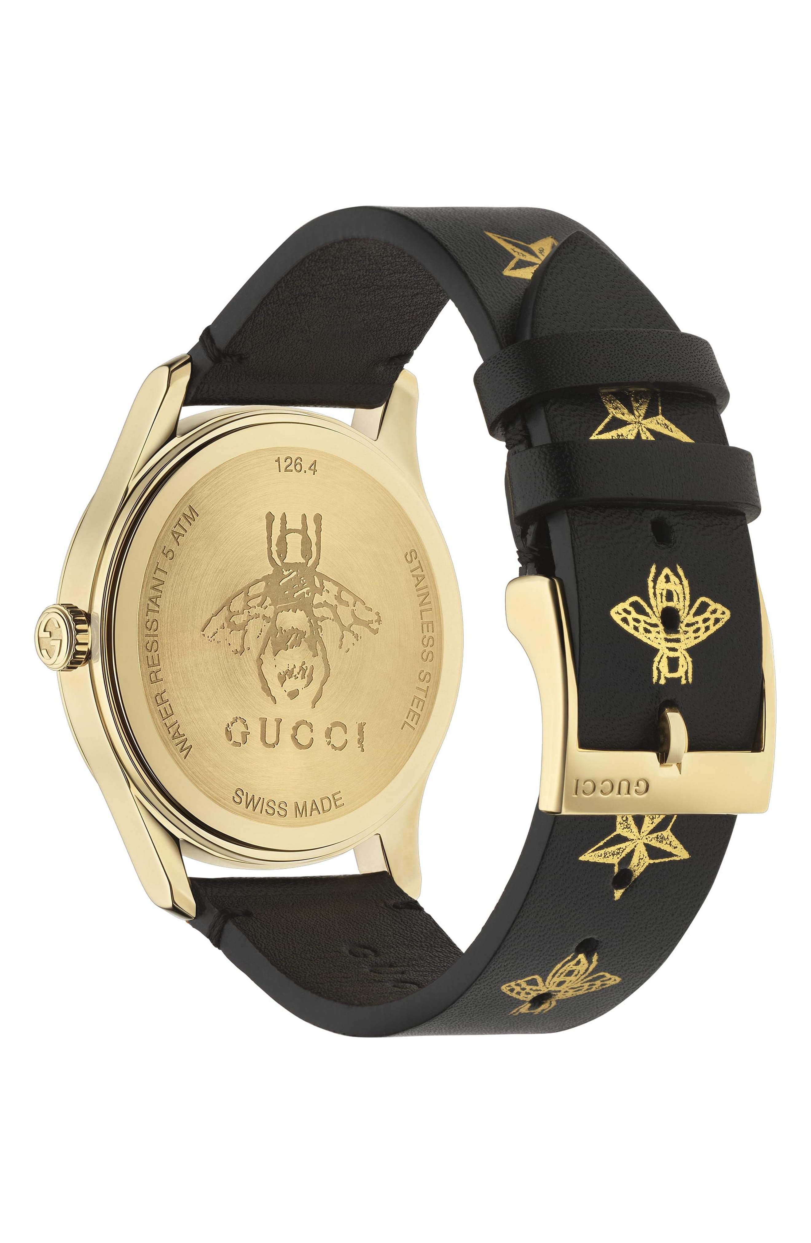 G-Timeless Leather Strap Watch, 36mm,                             Alternate thumbnail 2, color,                             BLACK/ GOLD