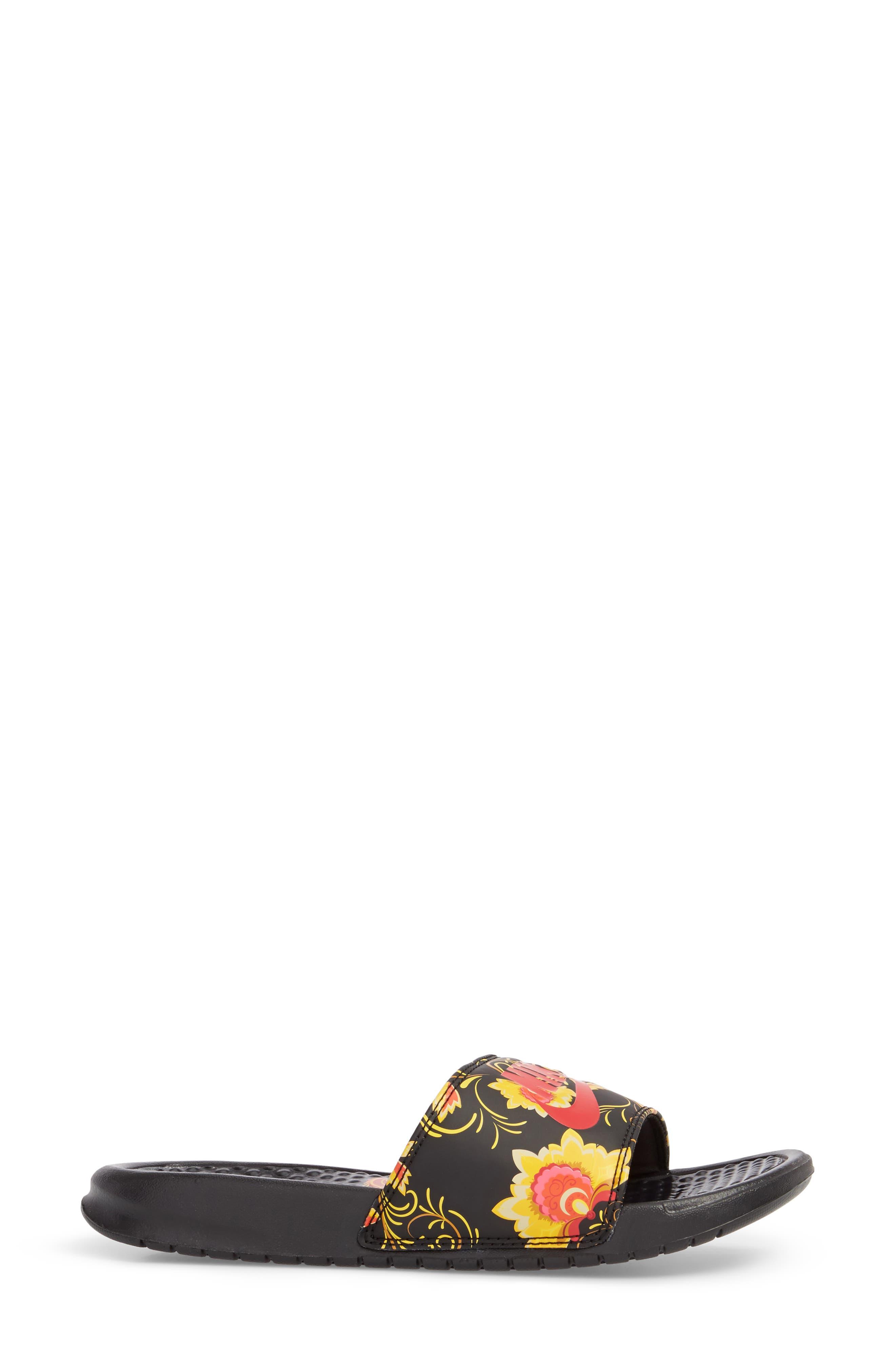 Benassi Floral Print Slide Sandal,                             Alternate thumbnail 3, color,                             600