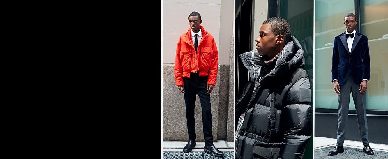 Models in designer fall fashion.