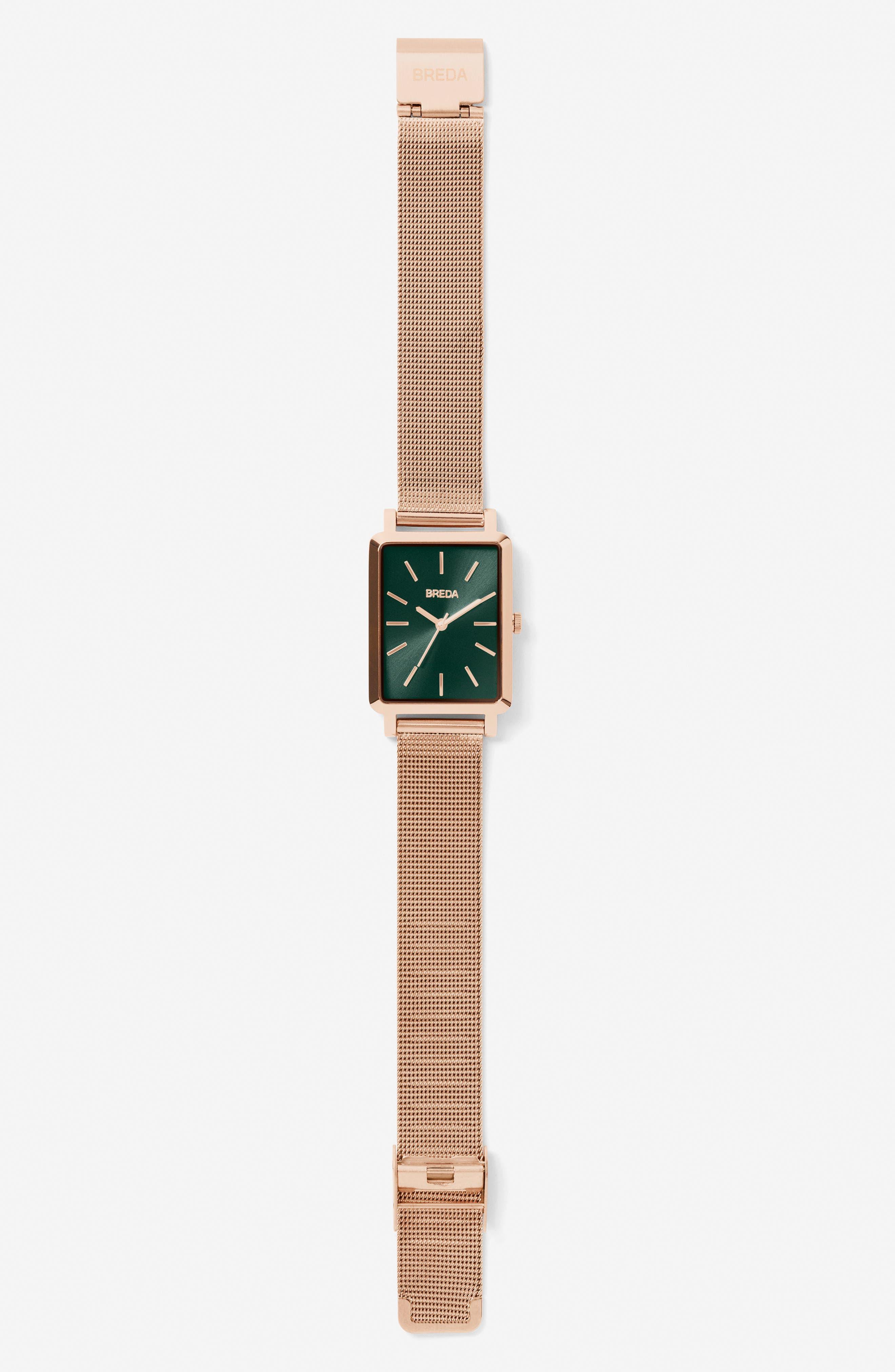 Baer Mesh Strap Watch, 26mm,                             Alternate thumbnail 3, color,                             ROSE GOLD/ EMERALD/ ROSE GOLD