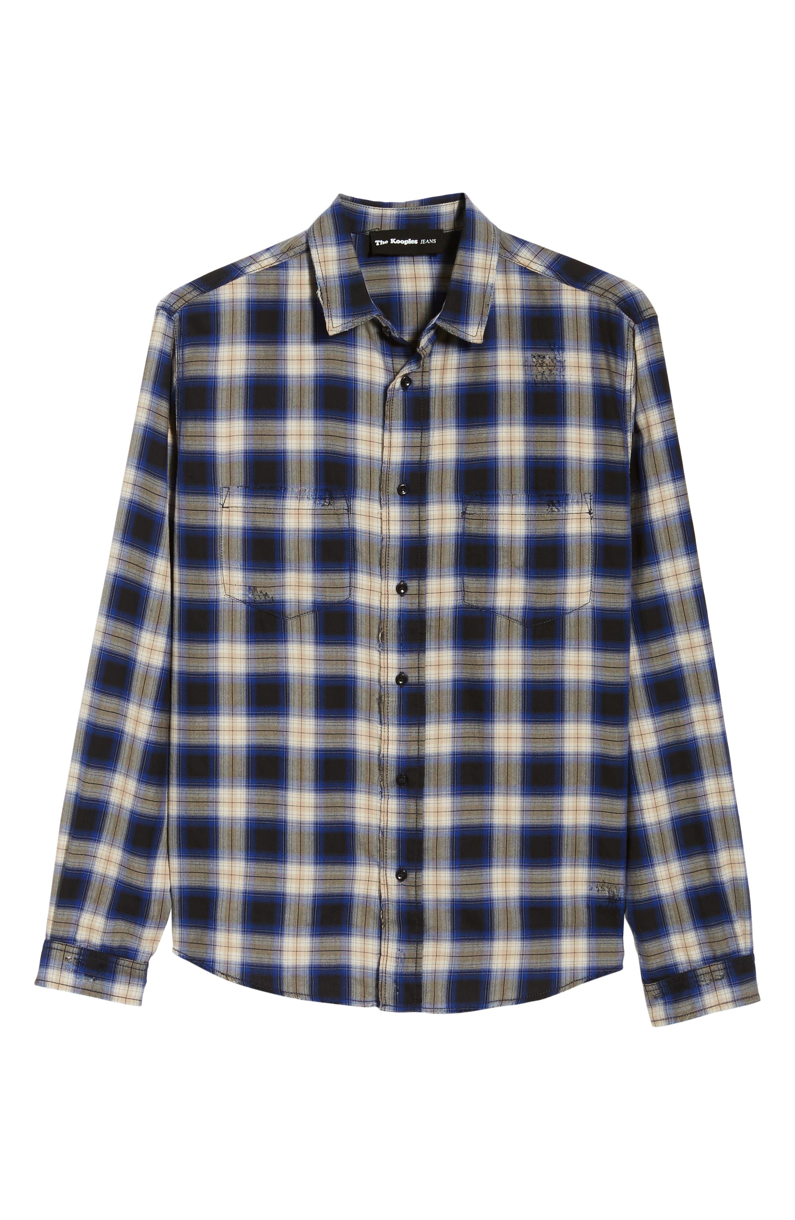 Classic Fit Distressed Plaid Shirt,                             Alternate thumbnail 5, color,                             400