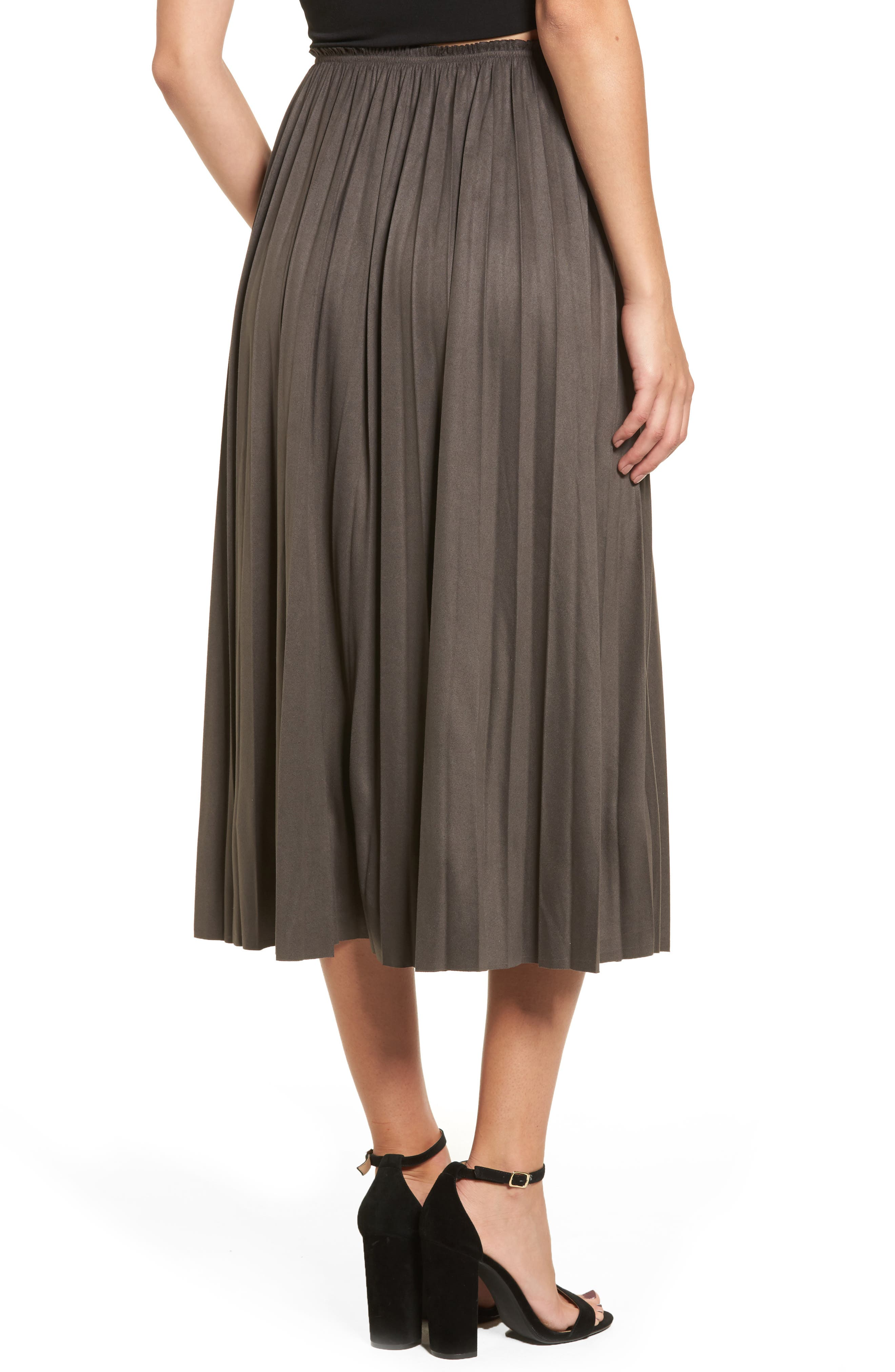 Pleated Faux Suede Midi Skirt,                             Alternate thumbnail 2, color,                             300