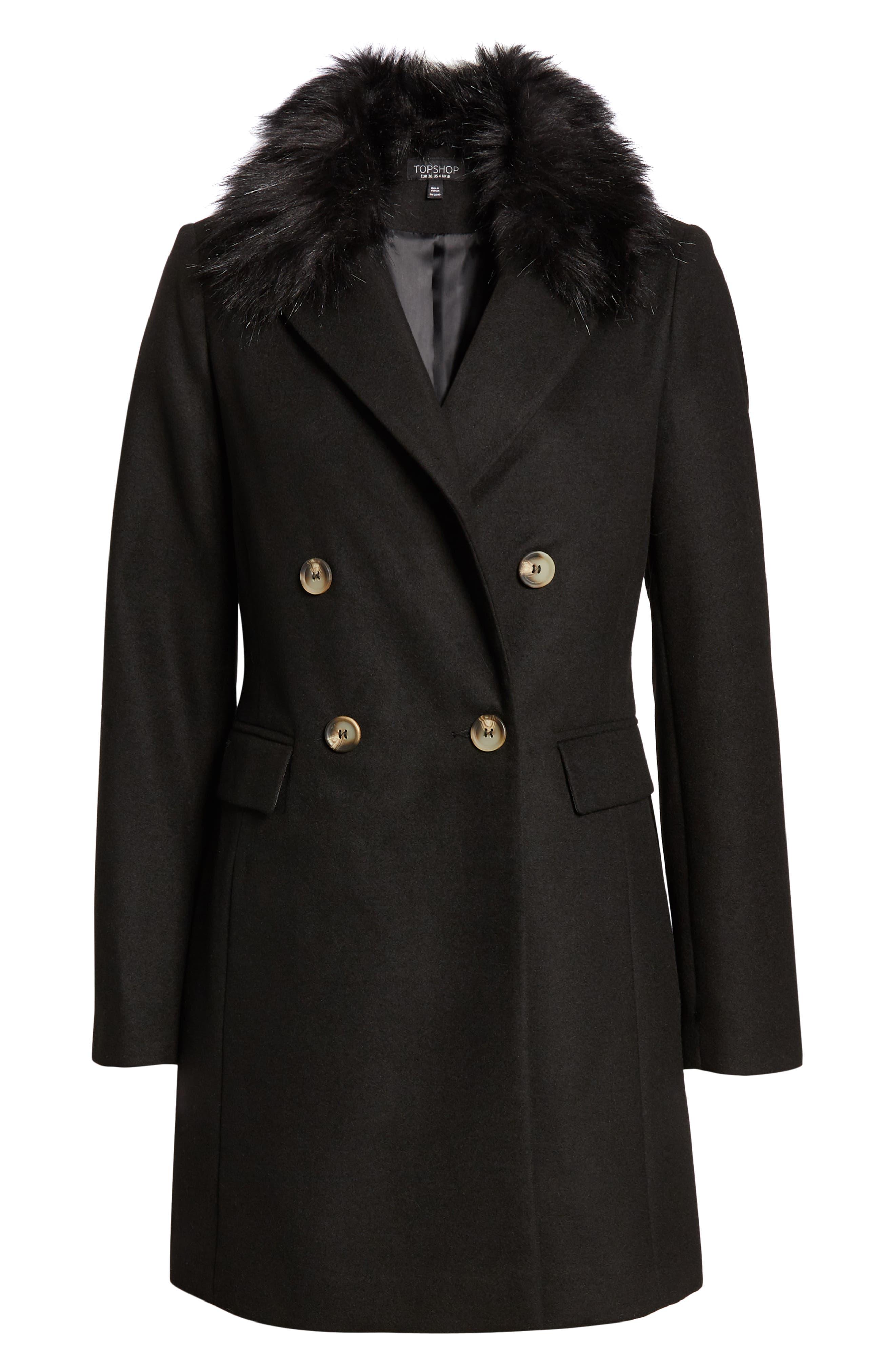Naomi Faux Fur Collar Coat,                             Alternate thumbnail 3, color,                             BLACK