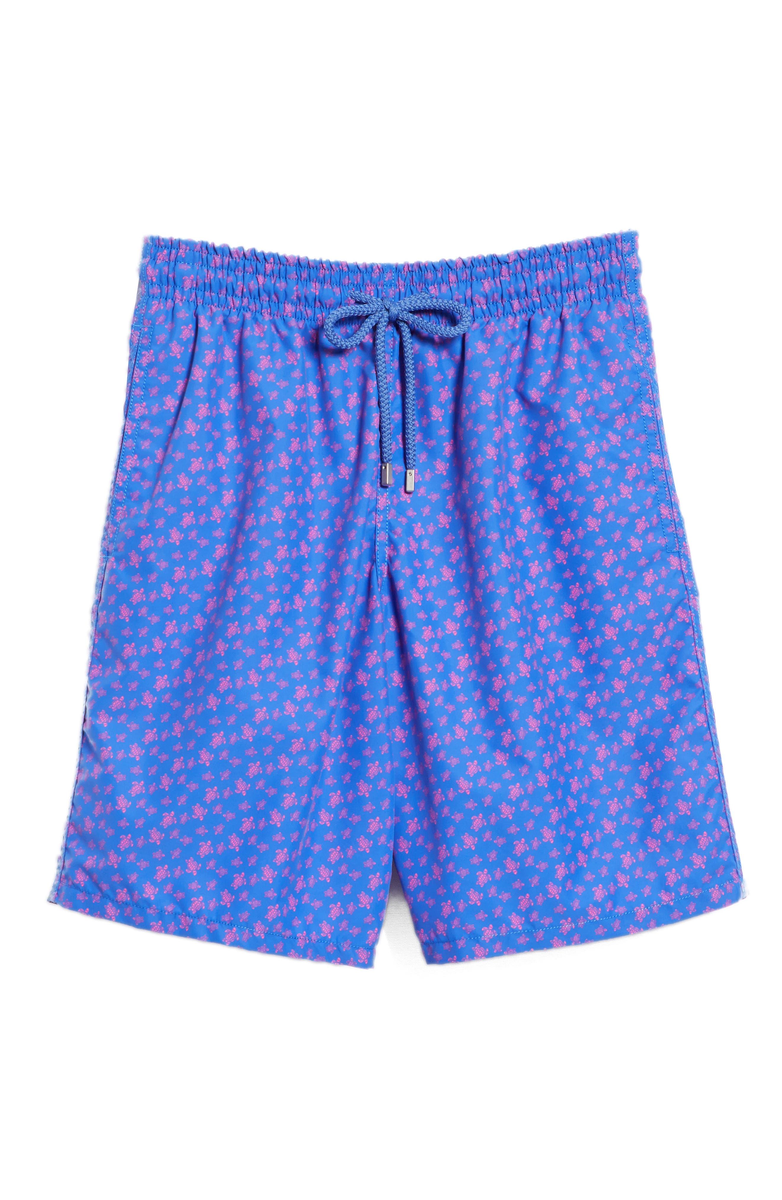 VILEBREQUIN,                             Micro Ronde Turtle Print Swim Trunks,                             Alternate thumbnail 6, color,                             BLUE
