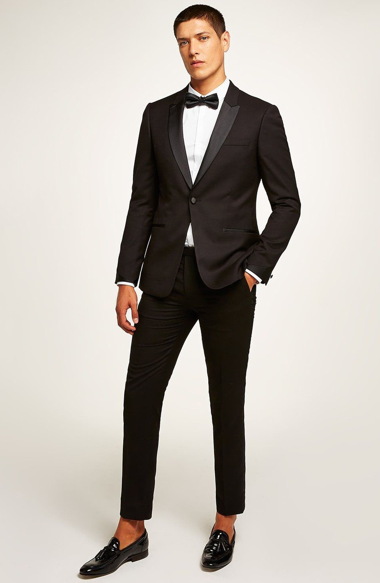 Skinny Fit Satin Lapel Tuxedo Jacket,                             Alternate thumbnail 5, color,                             001