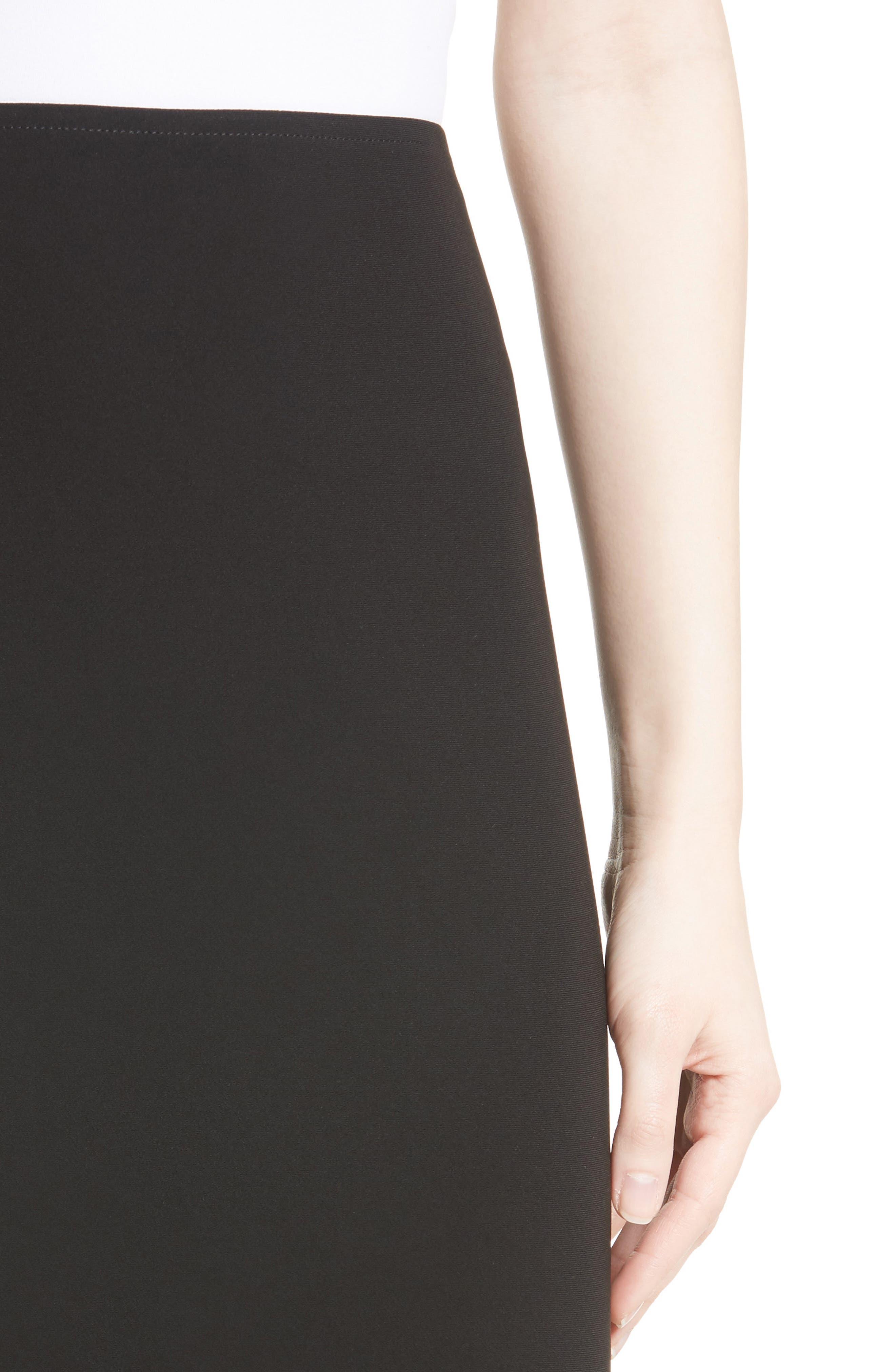 Crepe Marocain Pencil Skirt,                             Alternate thumbnail 5, color,                             CAVIAR